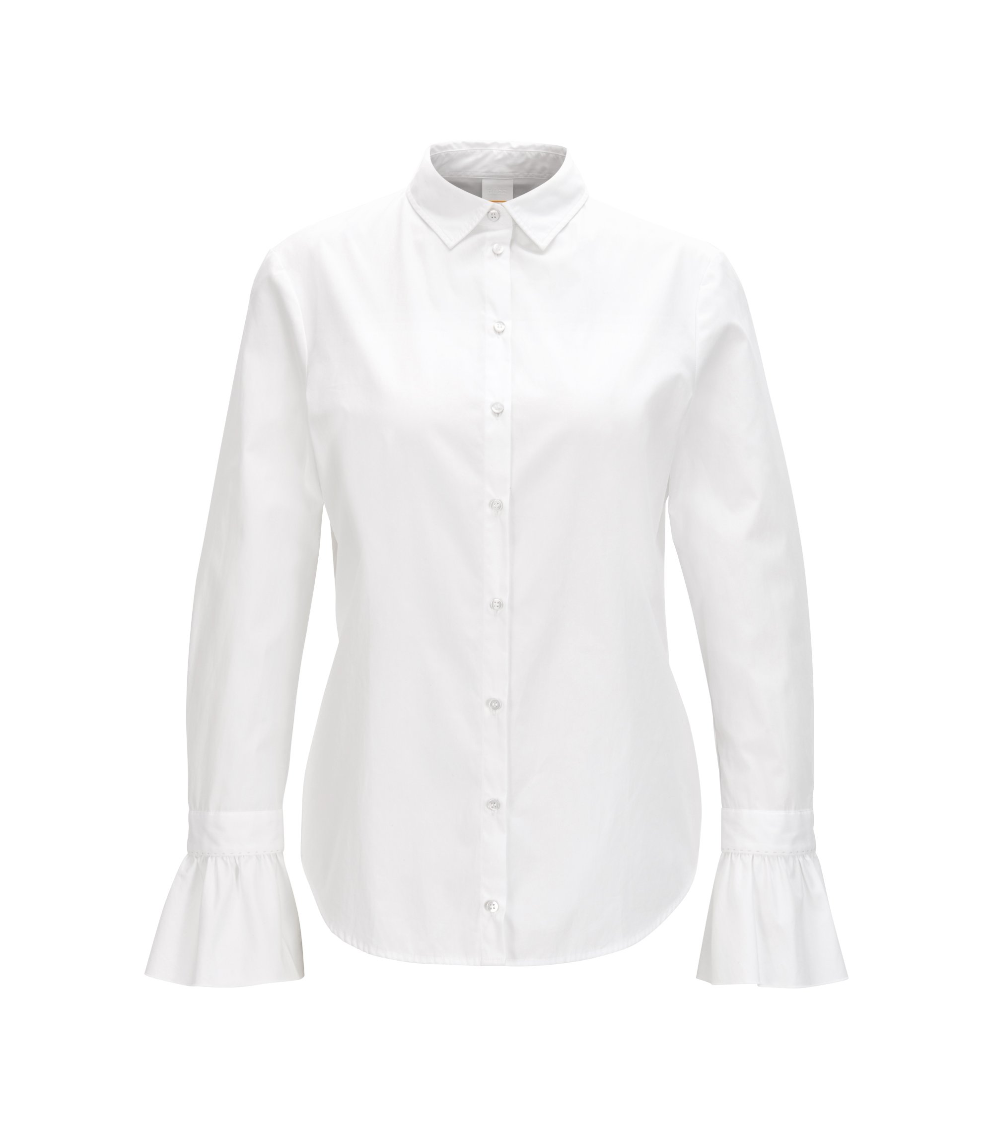 Slim-fit cotton-poplin blouse with ruffle cuff, White