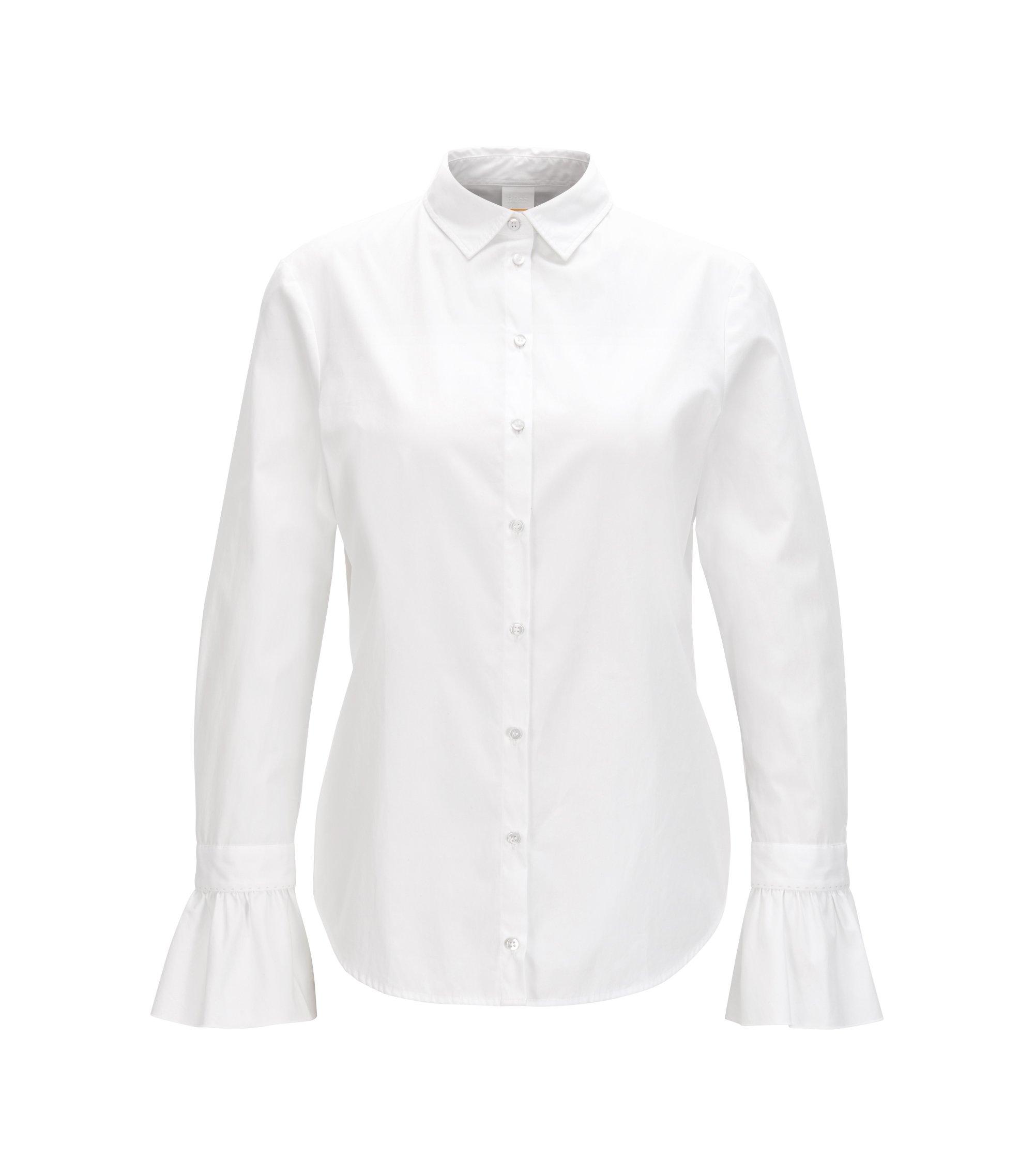 Blusa slim fit en popelín de algodón con volantes en los puños, Blanco