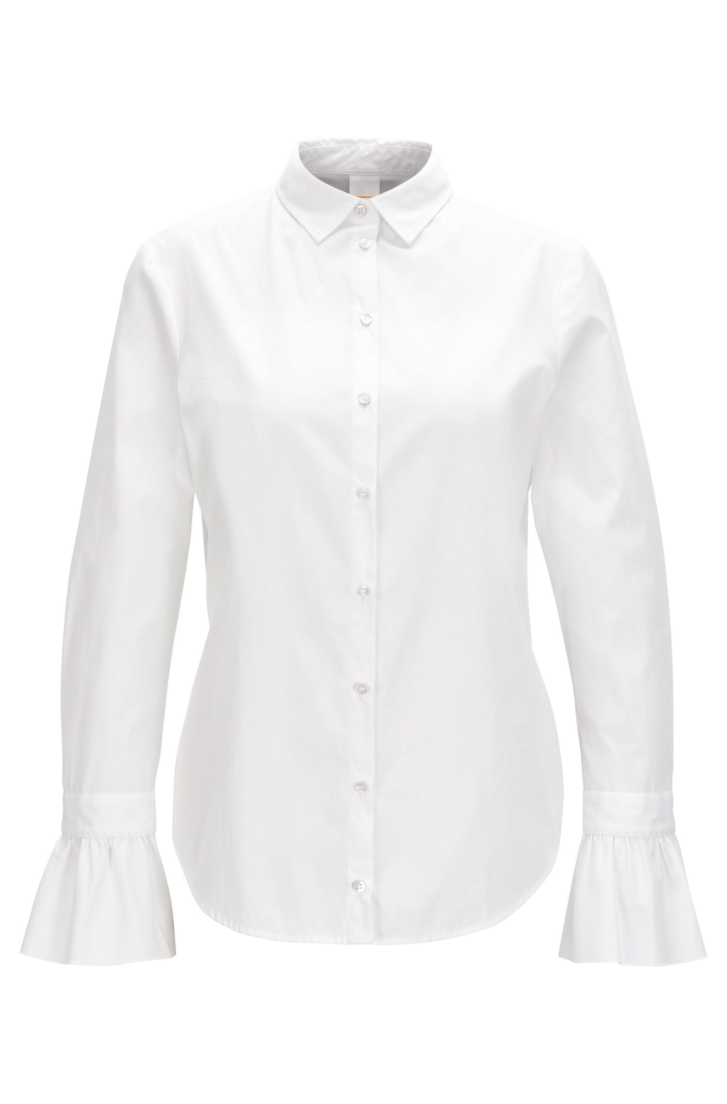 Blusa slim fit en popelín de algodón con volantes en los puños