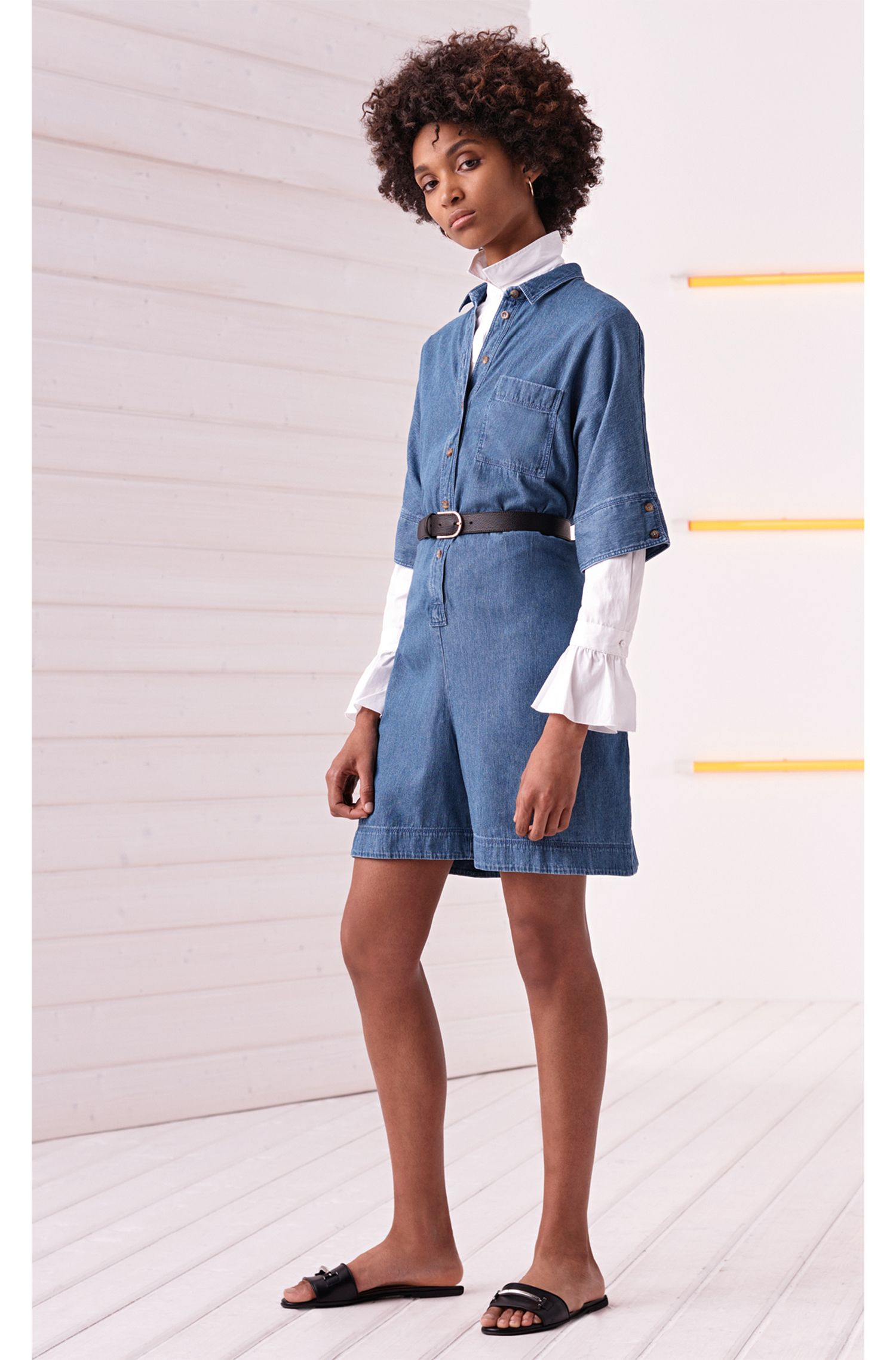 Slim-Fit Bluse aus Baumwoll-Popeline mit gerüschten Manschetten