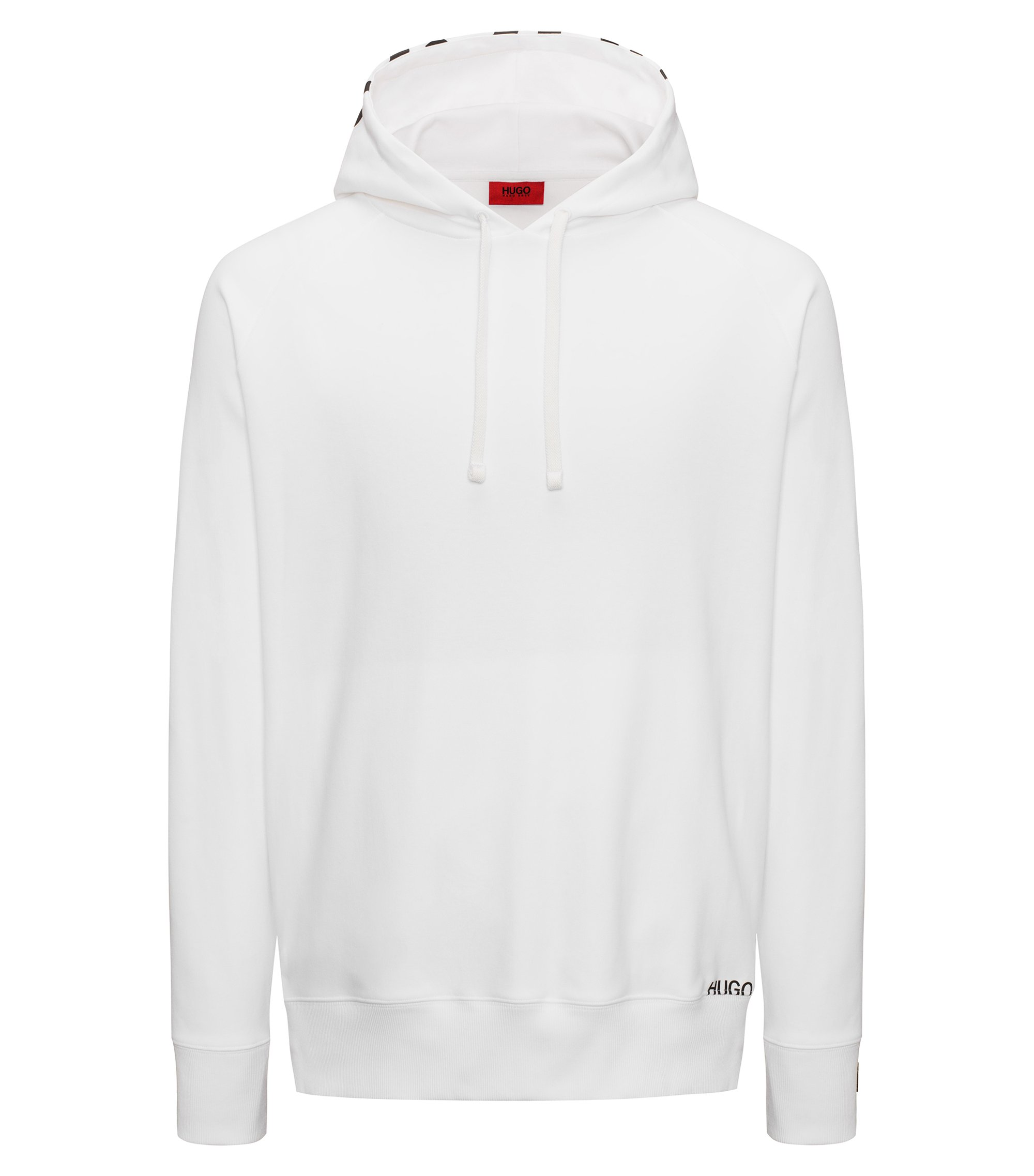 Sweat à capuche logo en coton interlock, Blanc