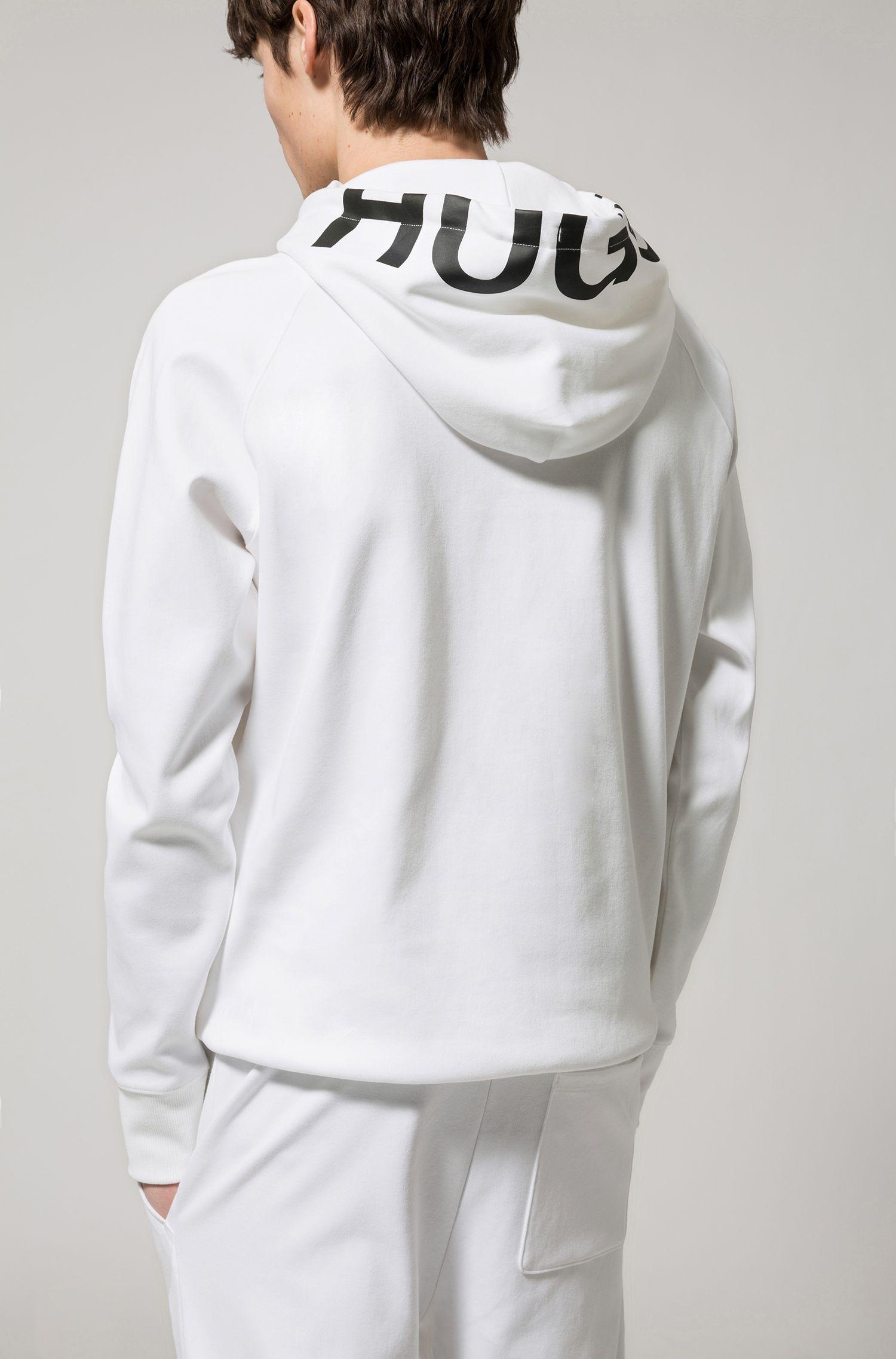 Sweat à capuche logo en coton interlock