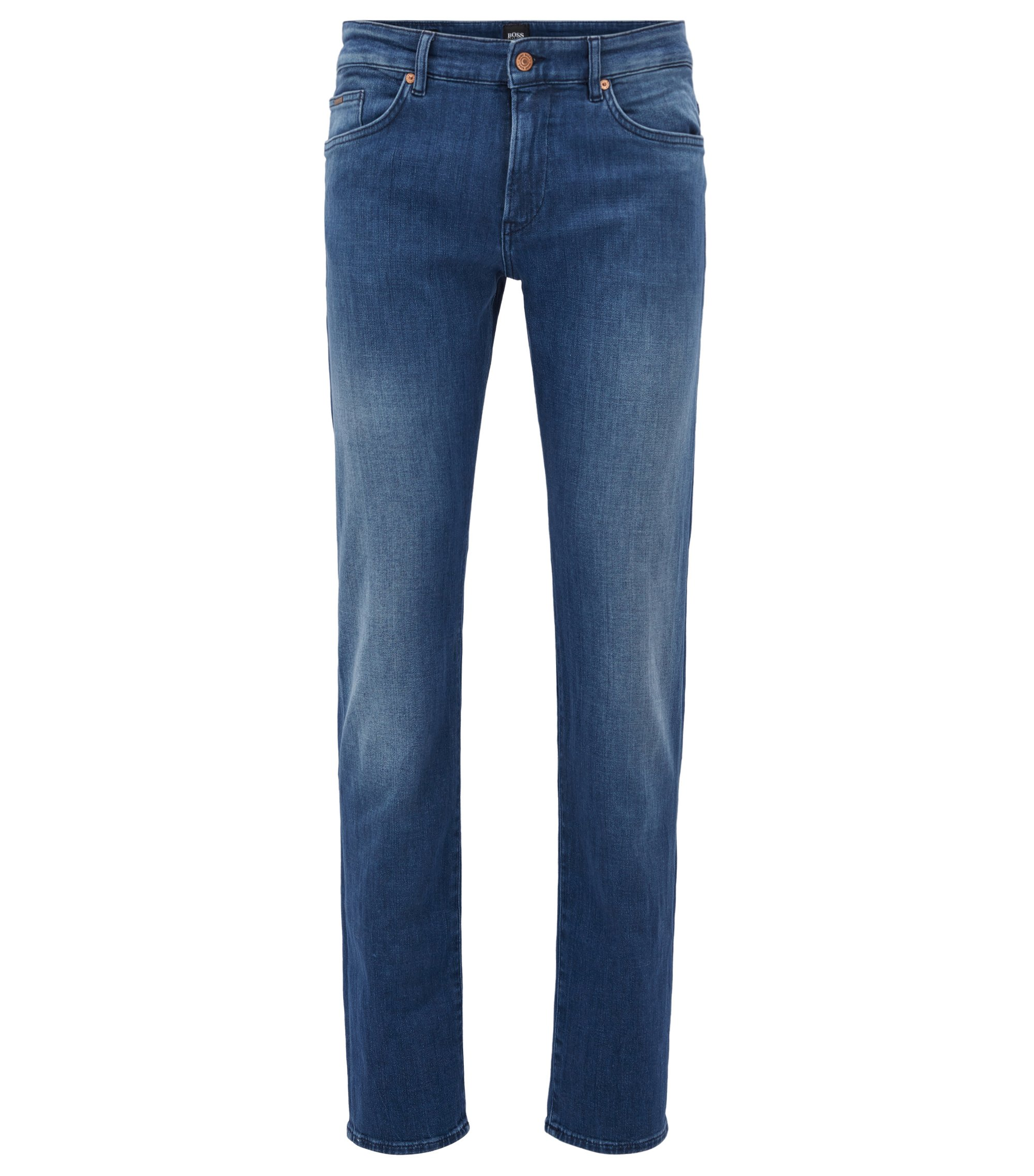 Jean Slim Fit en denim stretch au toucher cachemire, Bleu