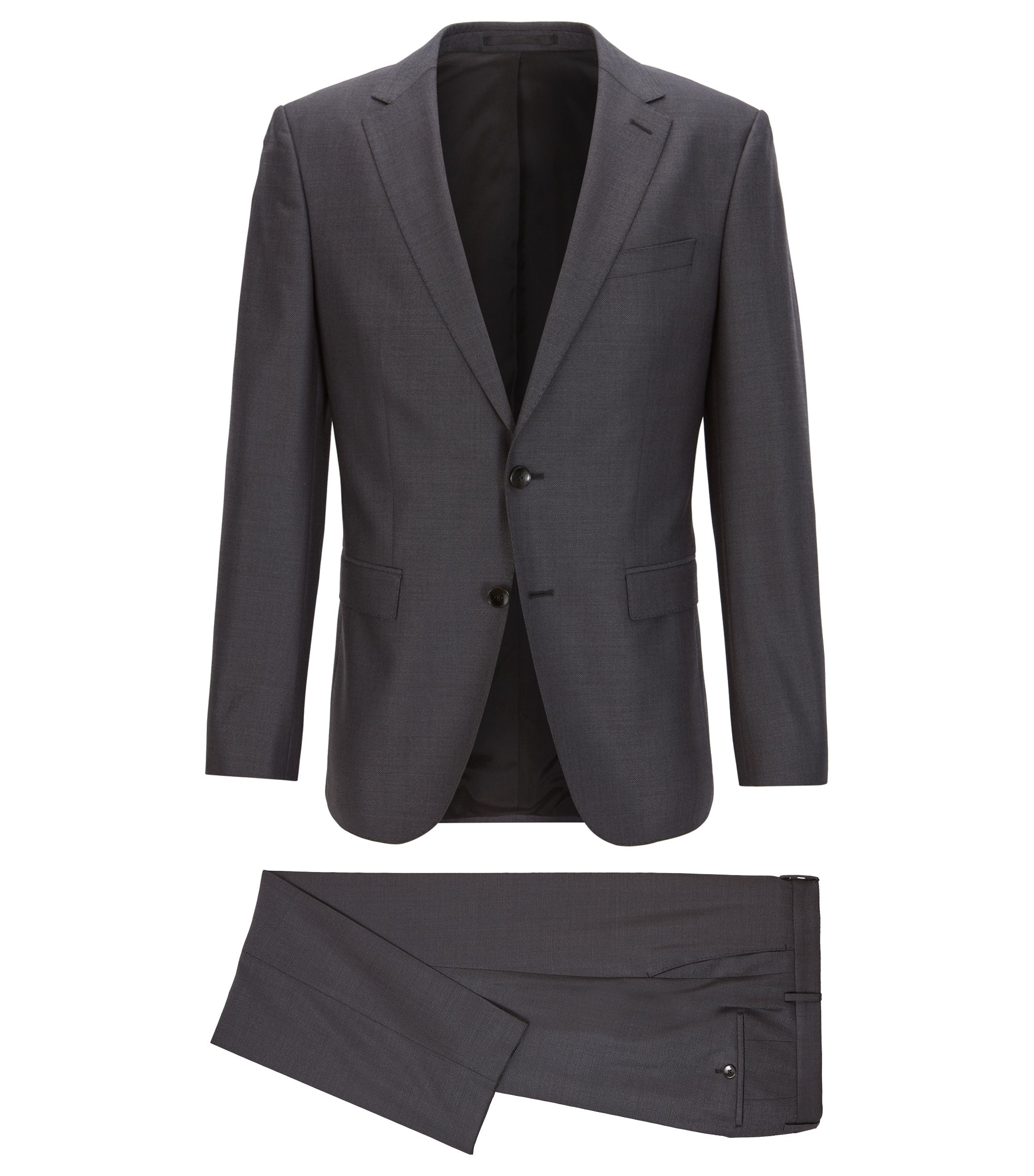 Slim-fit micro-patterned suit in a virgin-wool blend, Dark Grey