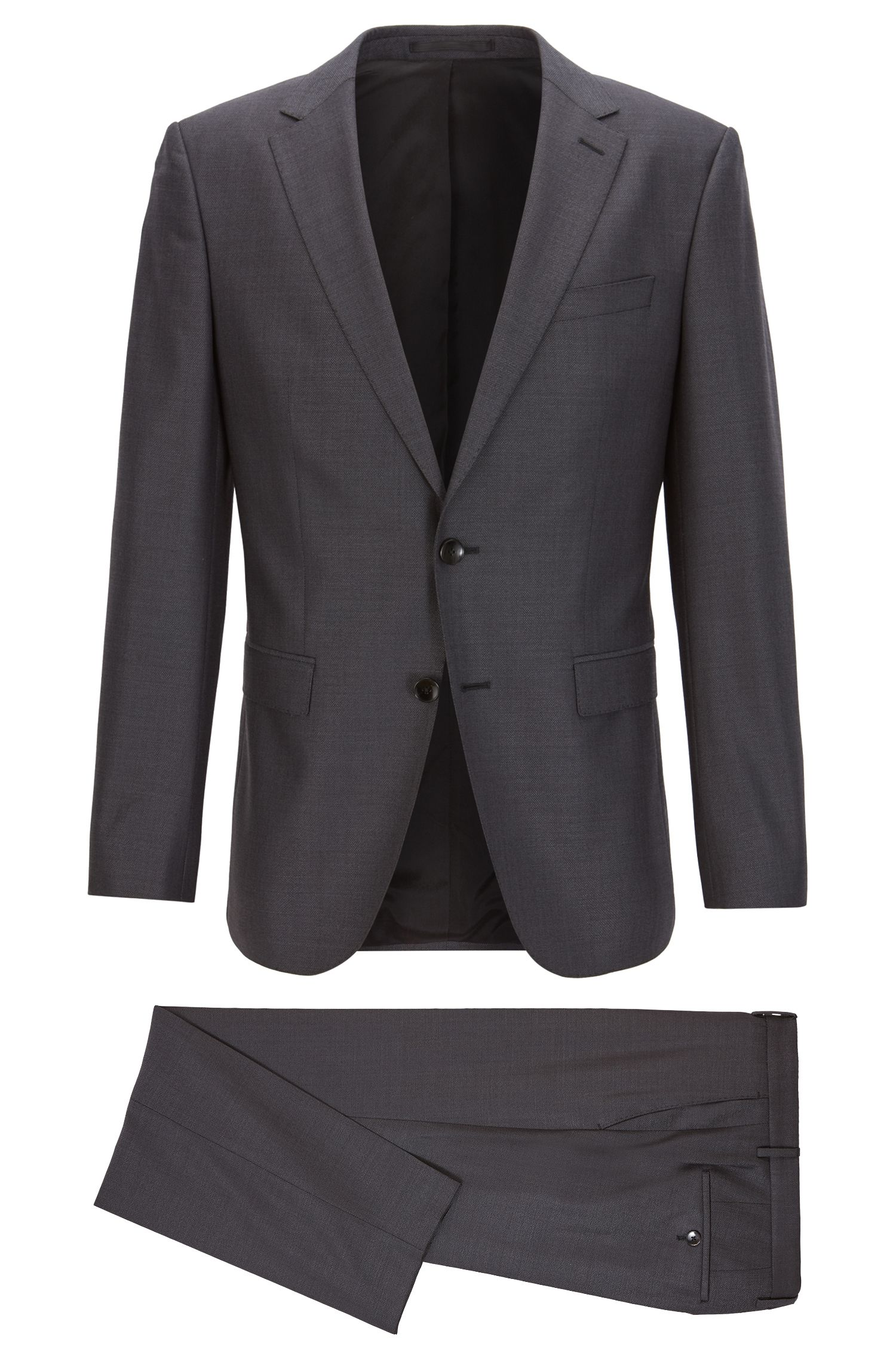 Slim-fit micro-patterned suit in a virgin-wool blend