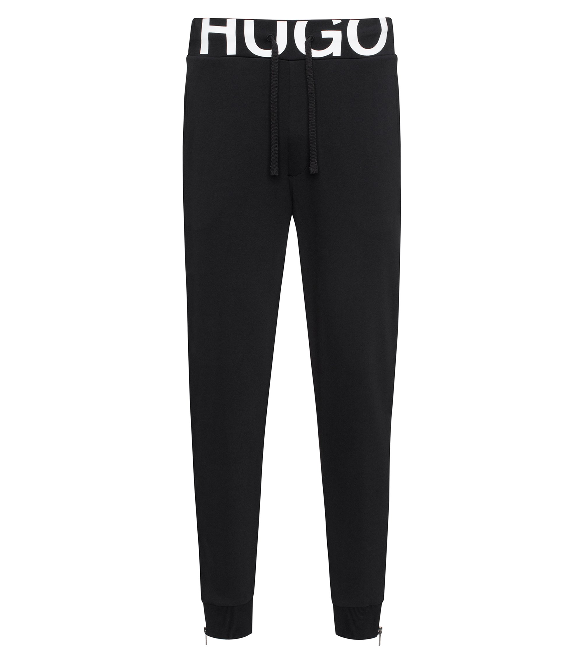 Regular-fit logo-waistband cotton-jersey trousers, Black