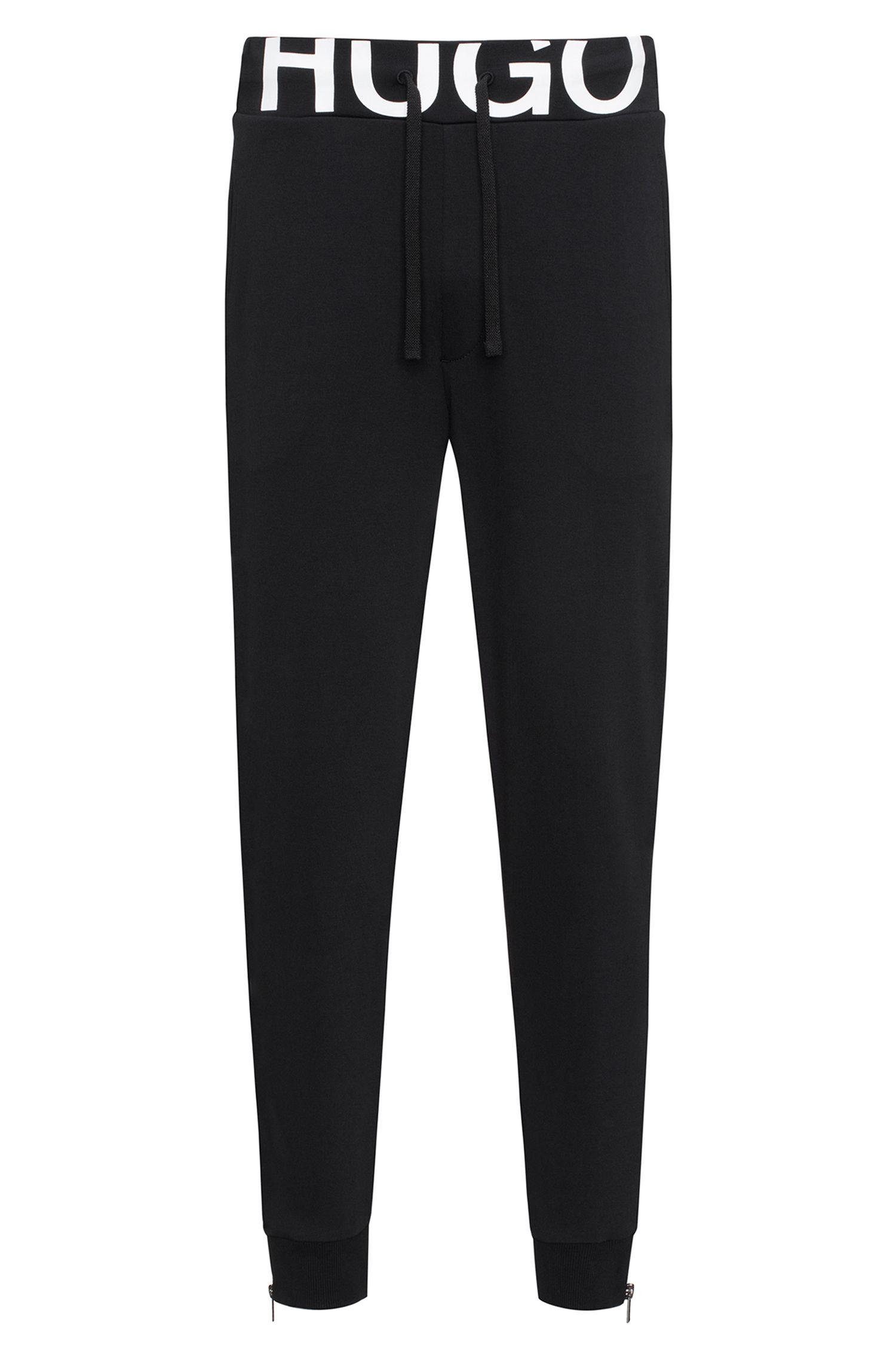 Pantaloni regular fit in jersey di cotone con vita con logo