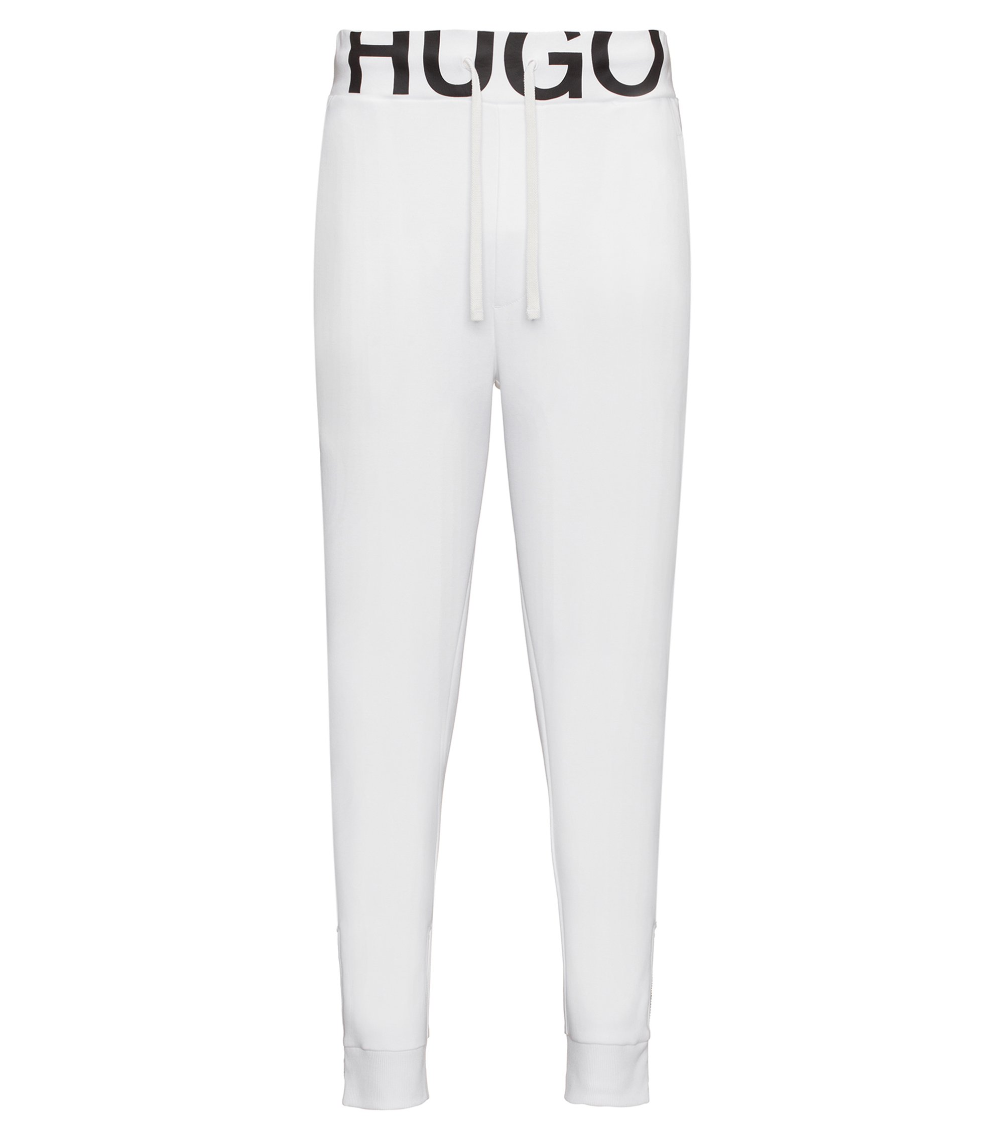 Regular-fit logo-waistband cotton-jersey trousers, White