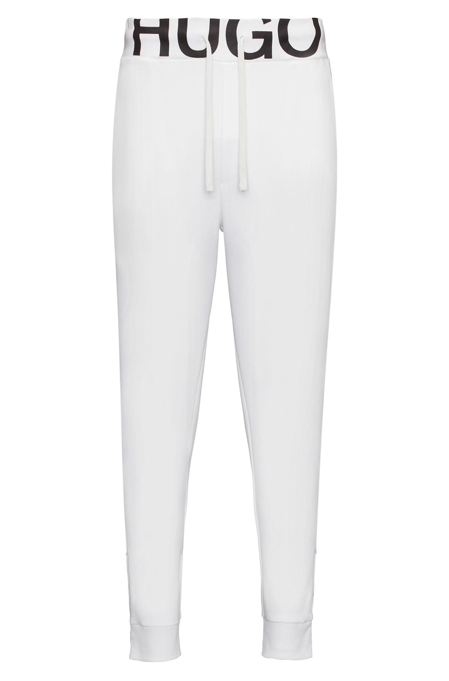 Regular-Fit Jogginghose aus elastischer Baumwolle mit Logo-Bund