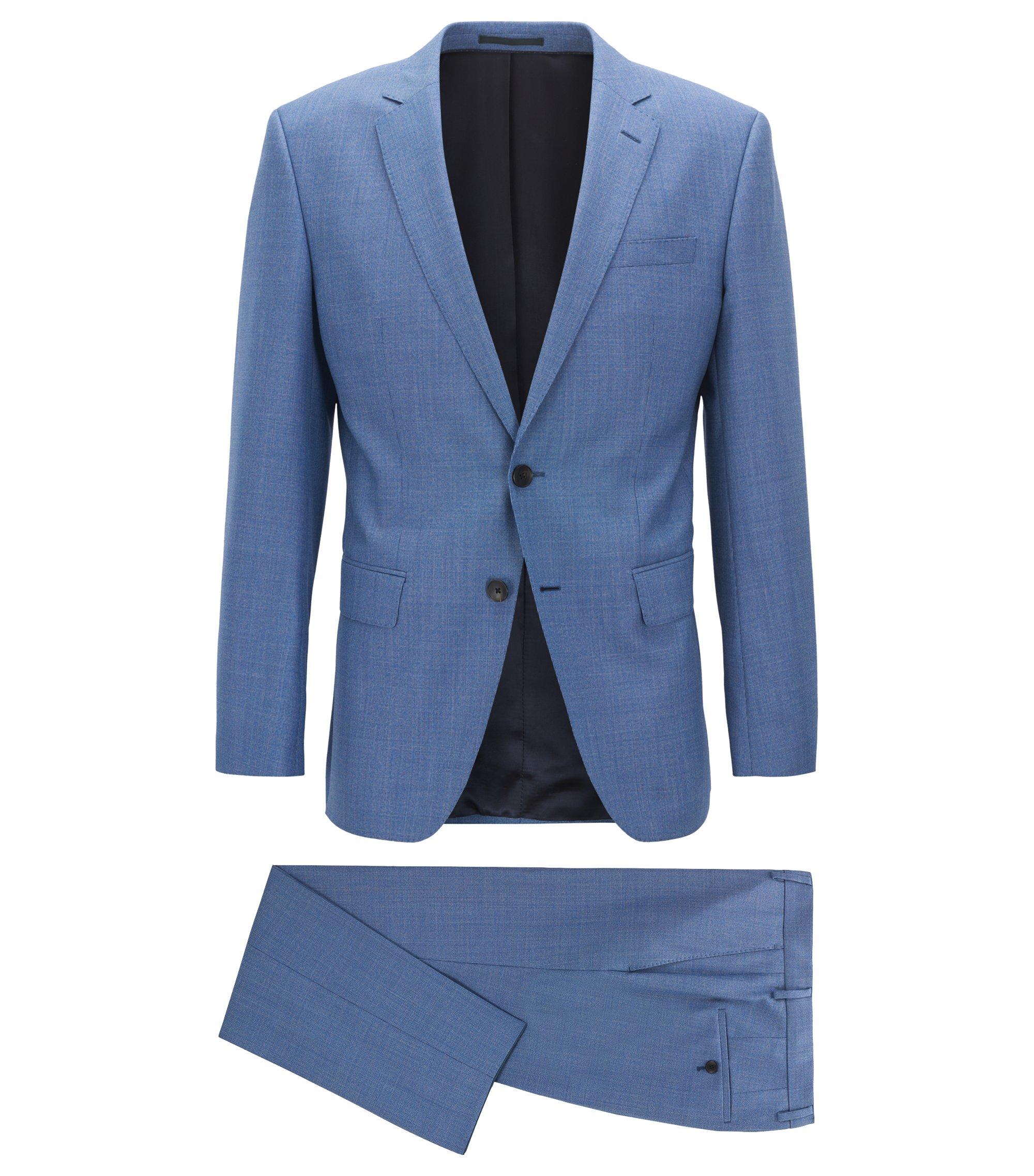 Dezent gemusterter Slim-Fit Anzug aus Schurwolle, Hellblau