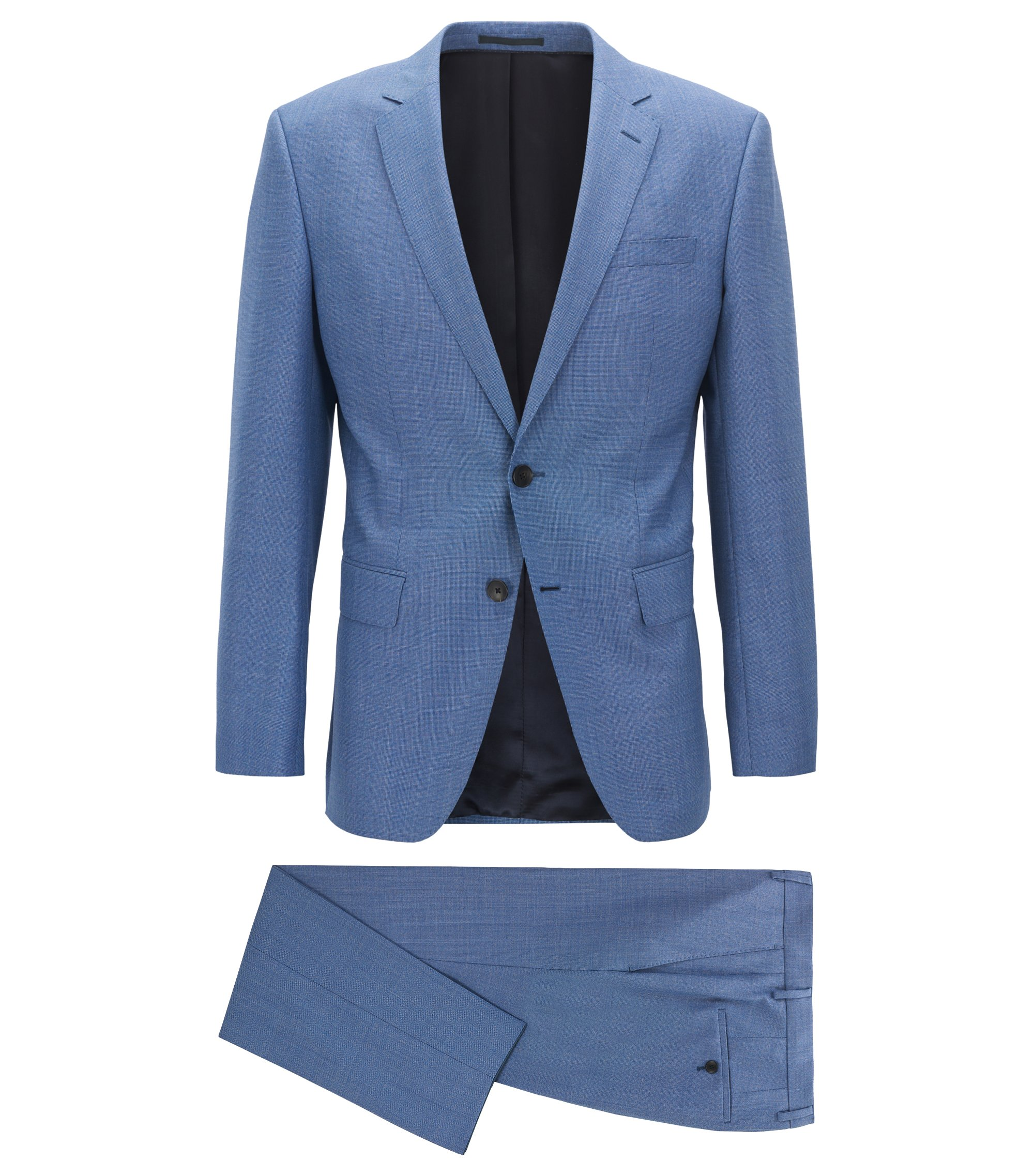 Slim-fit kostuum van scheerwol met microdessin, Lichtblauw