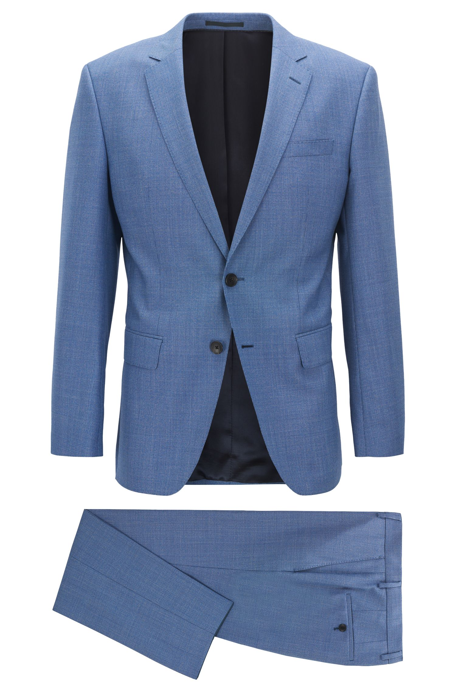 Slim-fit suit in micro-pattern virgin wool