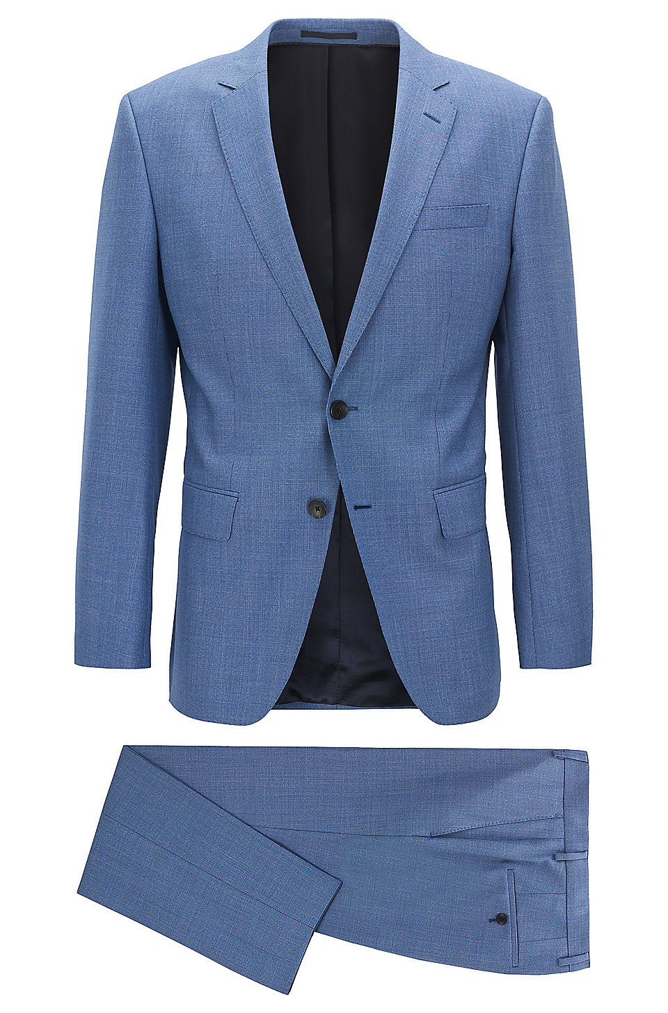 BOSS - Slim-fit suit in micro-pattern virgin wool
