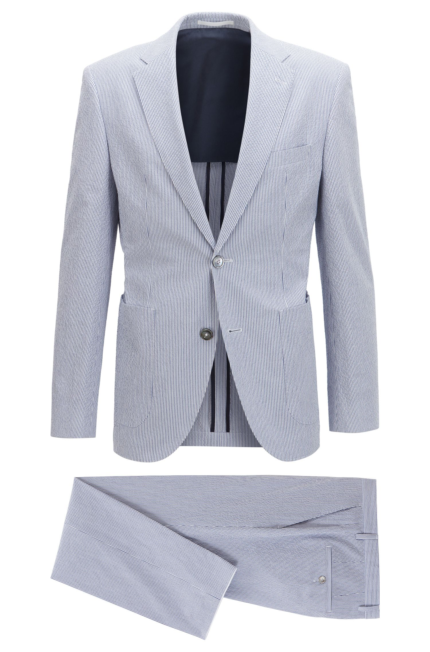 Striped stretch-cotton seersucker suit in a regular fit