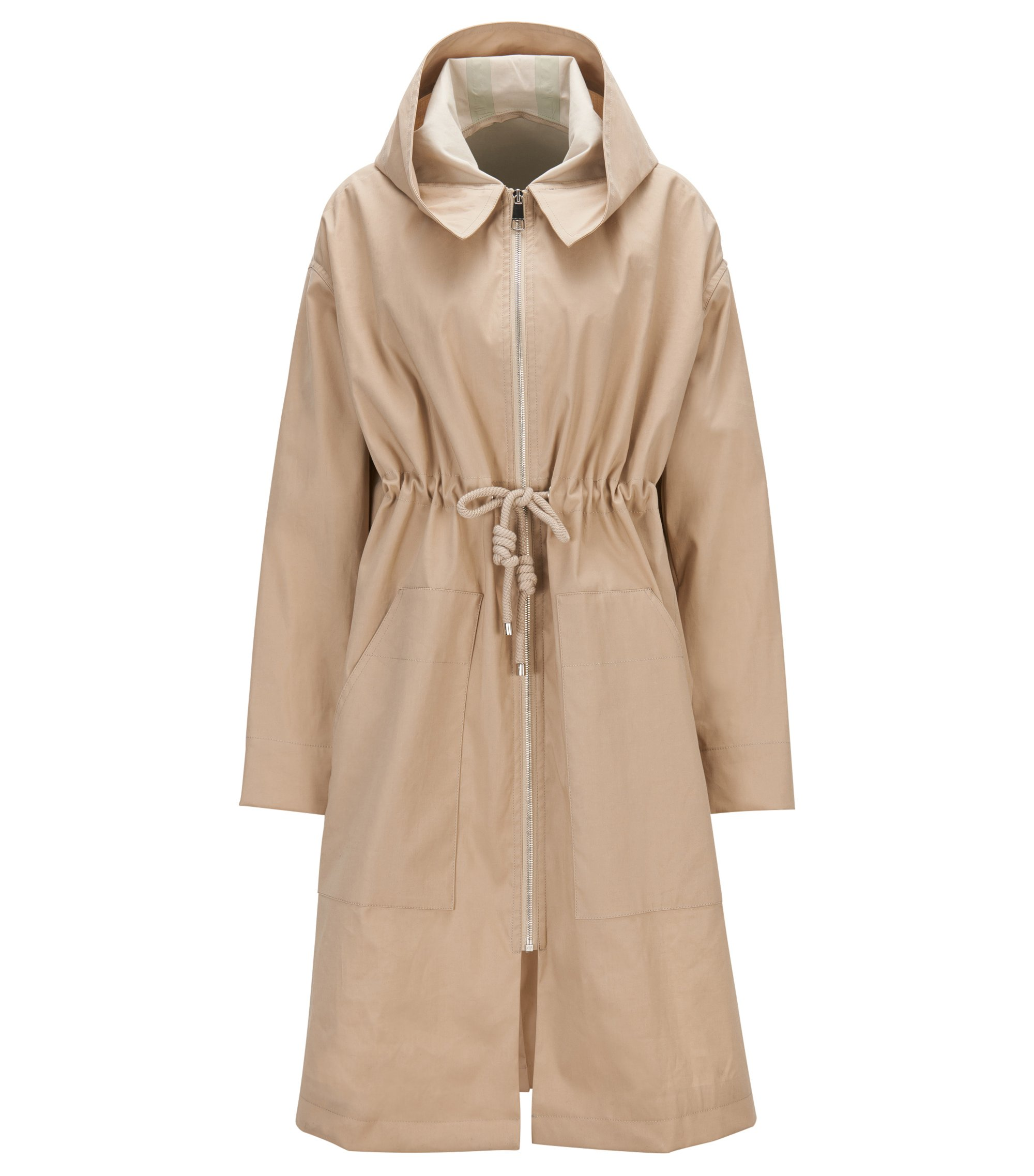 Water-repellent cotton-blend parka with drawstring waist, Beige
