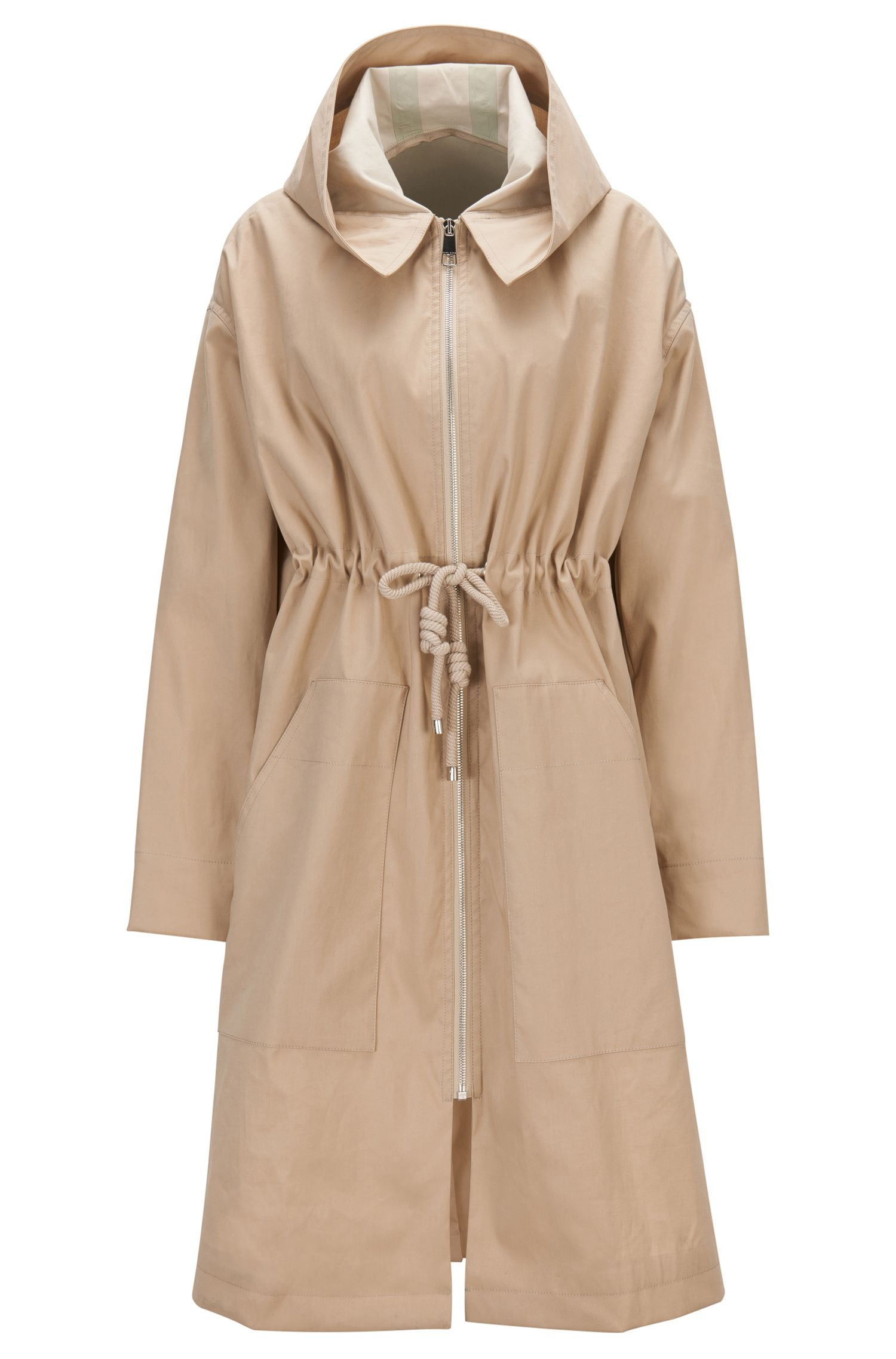 Water-repellent cotton-blend parka with drawstring waist