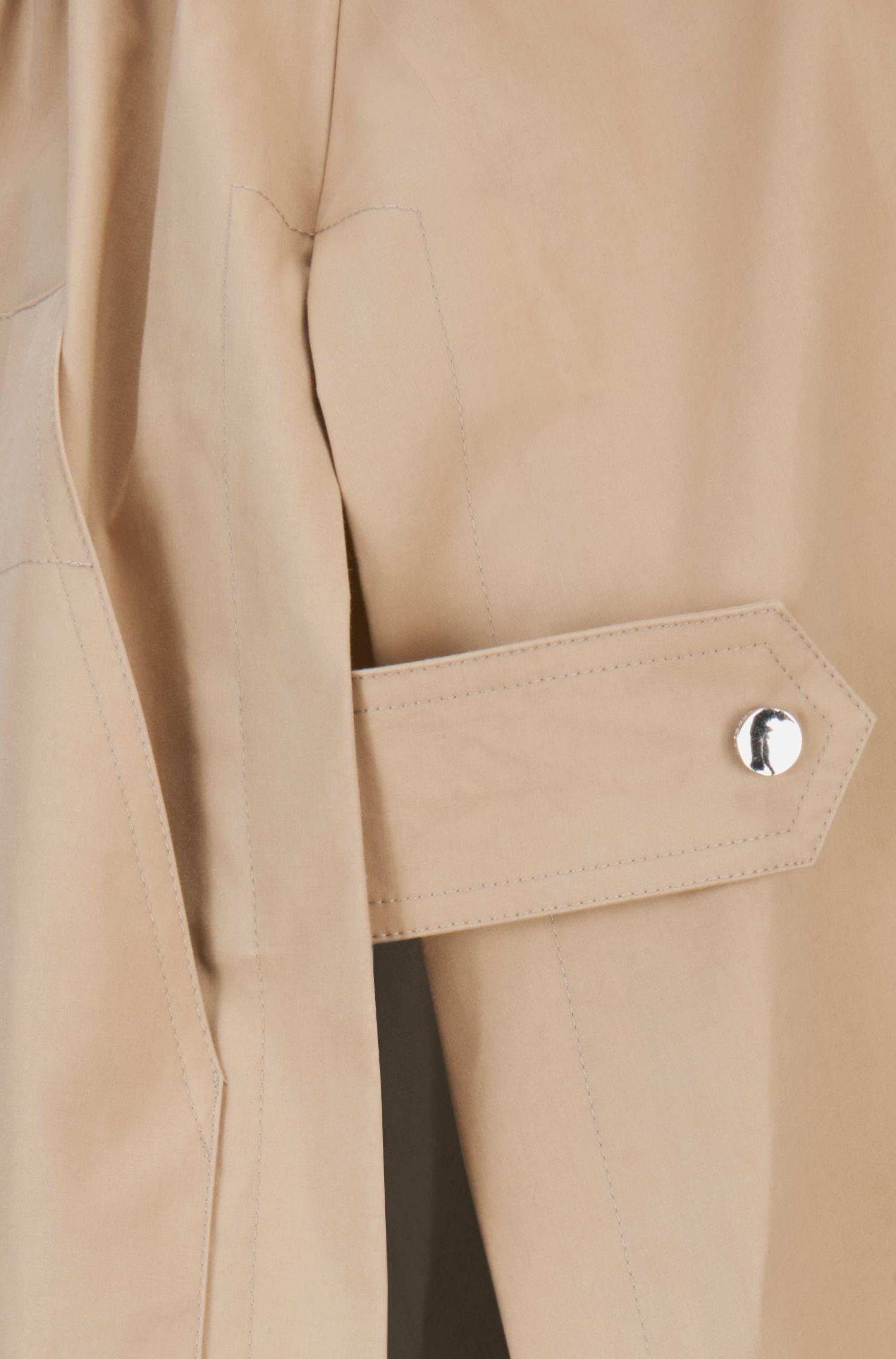 Parka imperméable en coton mélangé avec cordon de serrage à la taille