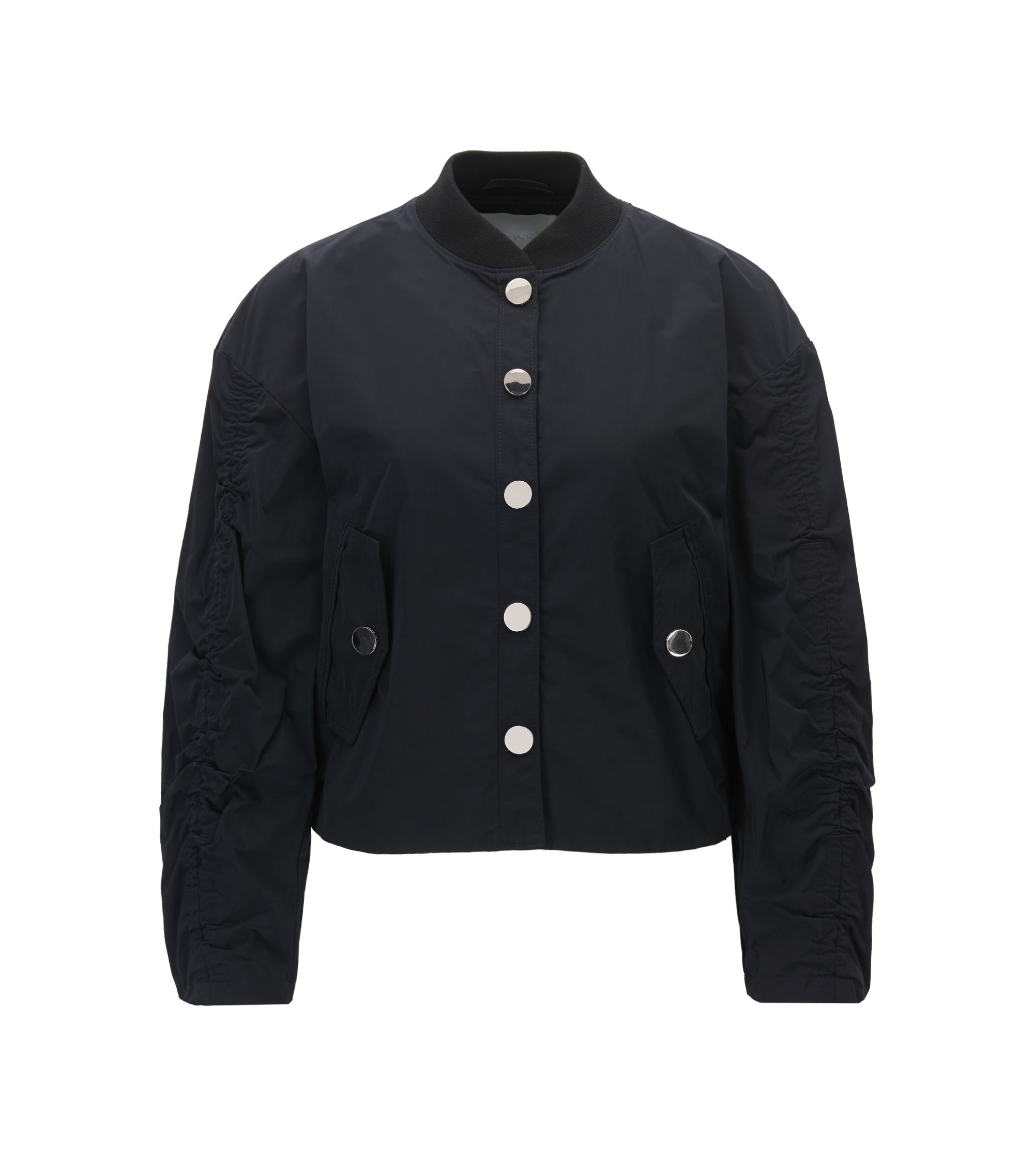 Water-repellent bomber jacket with gathered sleeves, Dark Blue