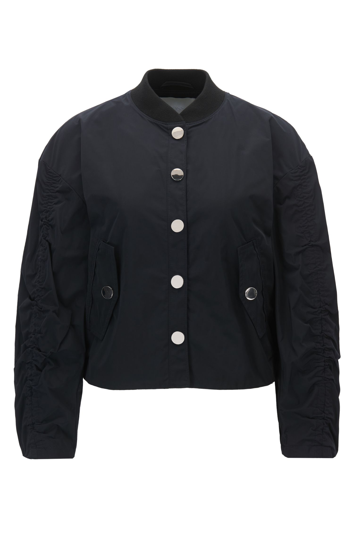 Water-repellent bomber jacket with gathered sleeves