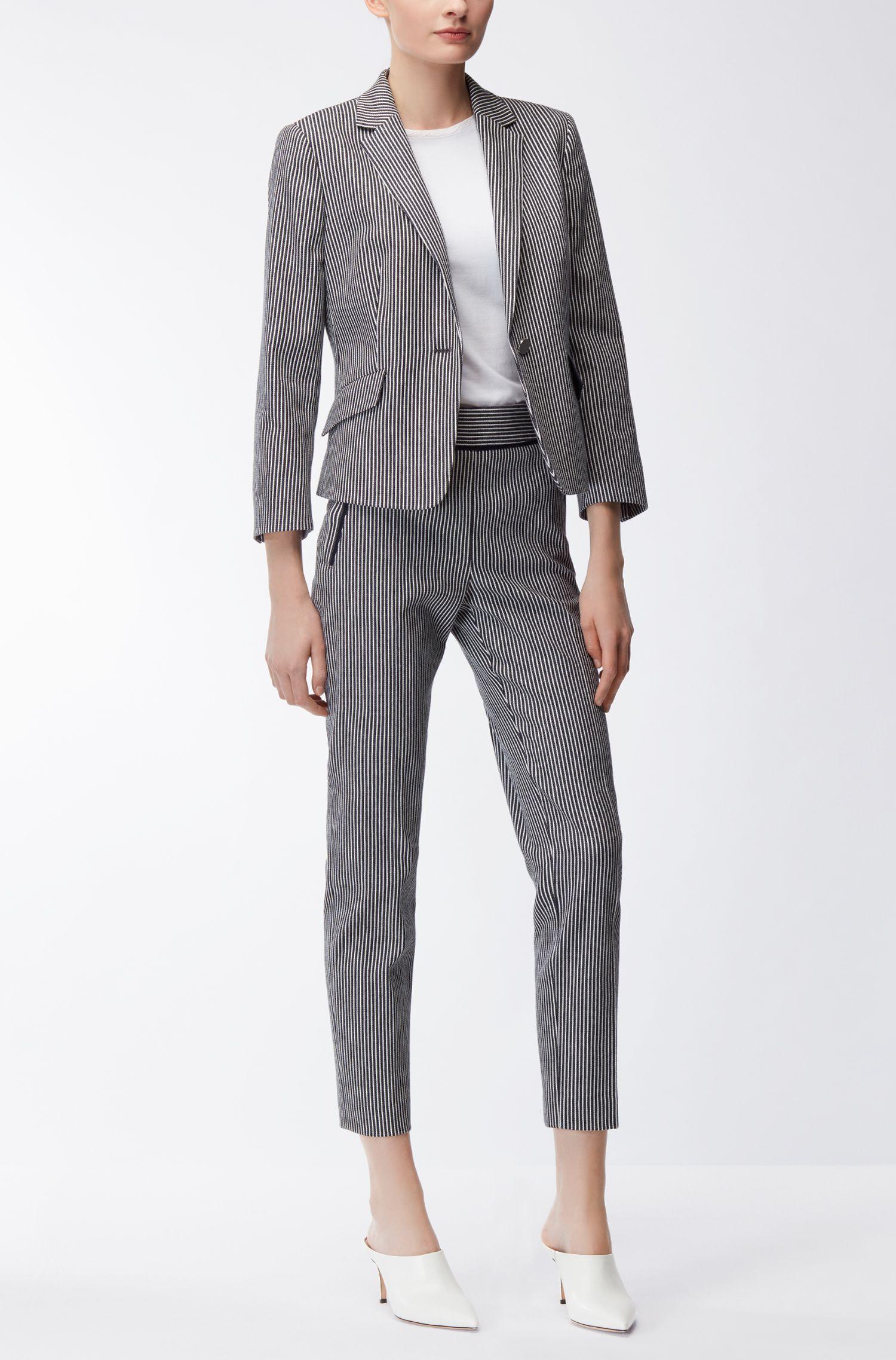 Regular-fit cropped trousers in denim-stripe stretch cotton BOSS