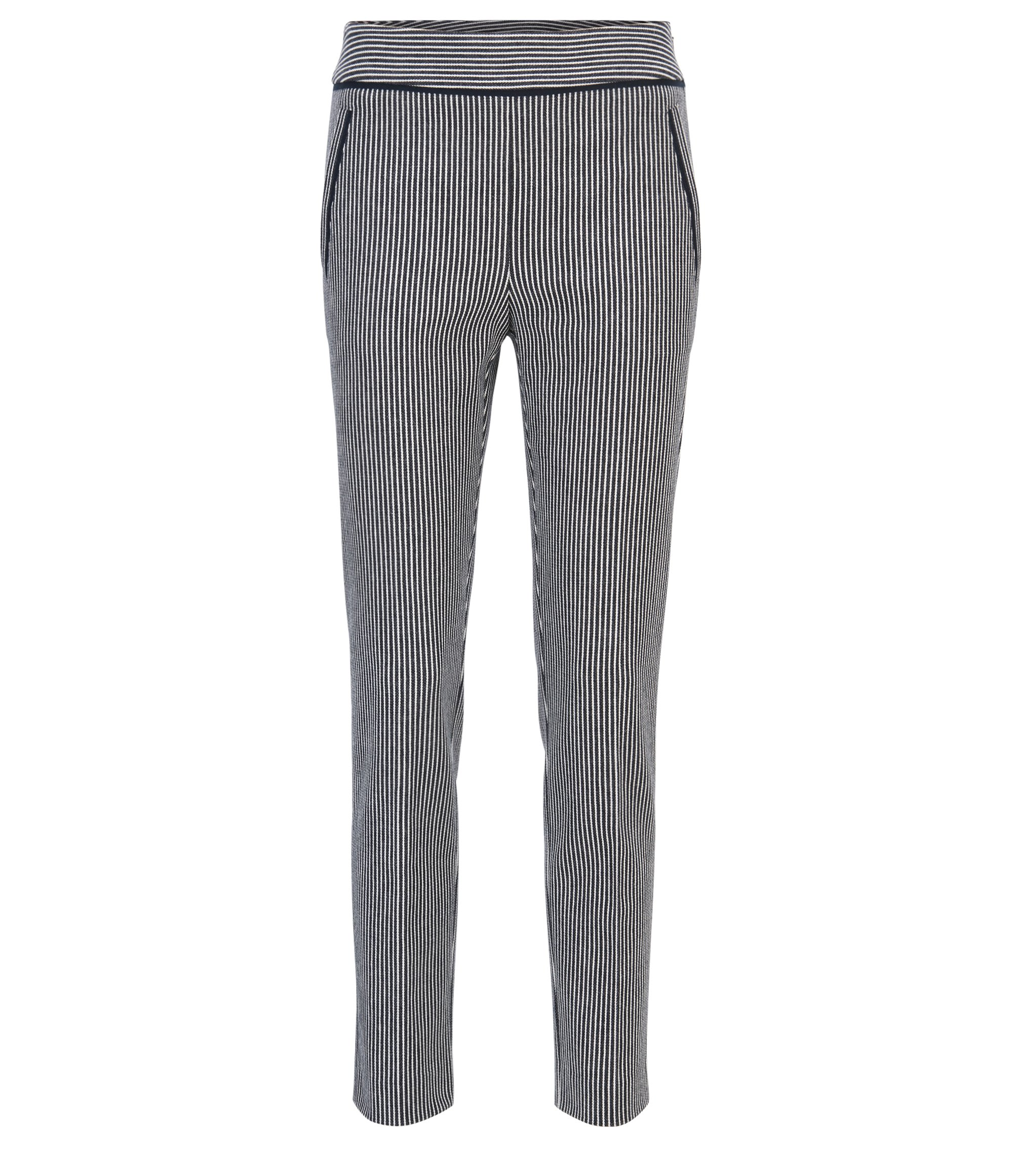 Regular-fit cropped trousers in denim-stripe stretch cotton, Patterned
