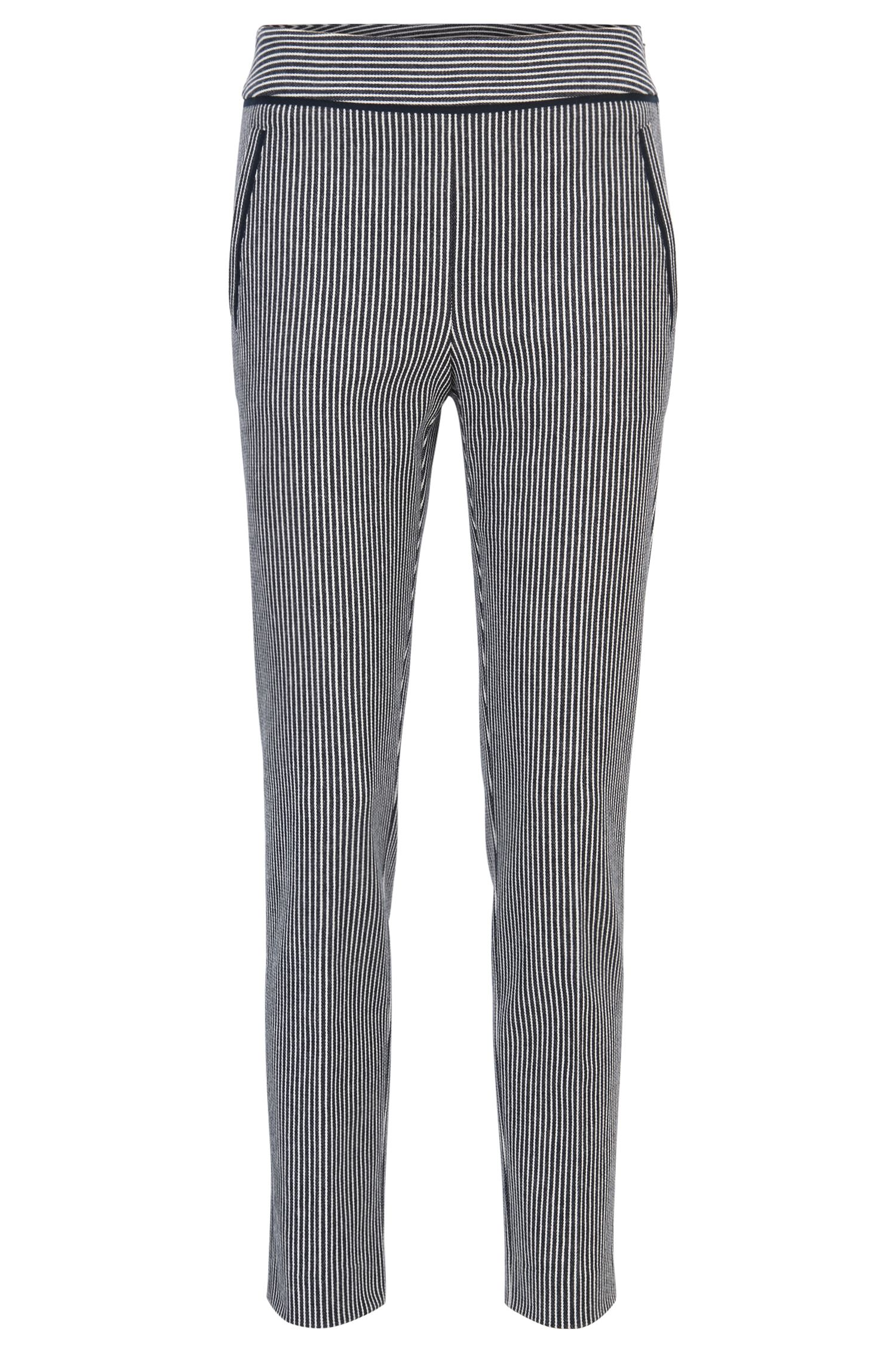 Regular-fit cropped trousers in denim-stripe stretch cotton