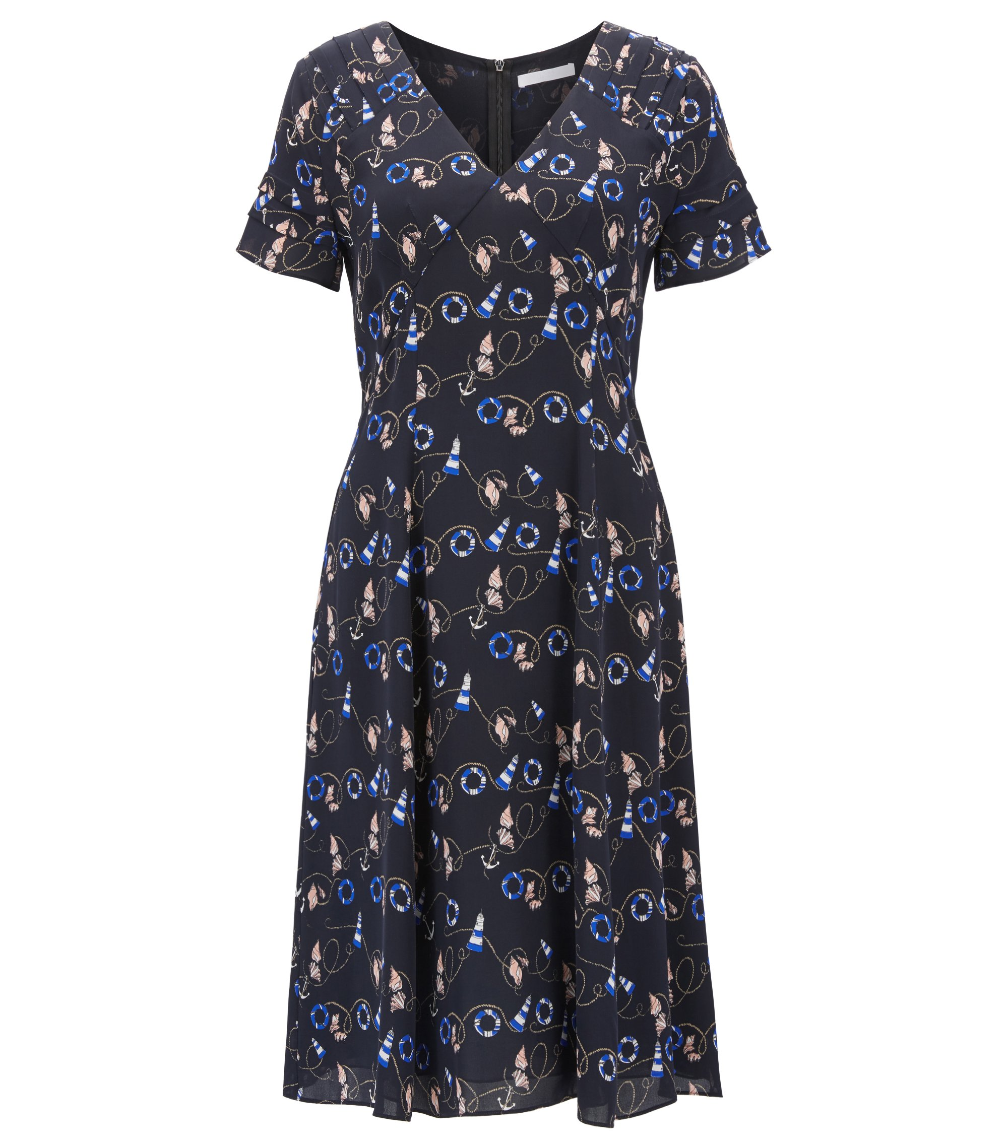 Nautical-print dress in pure silk , Patterned