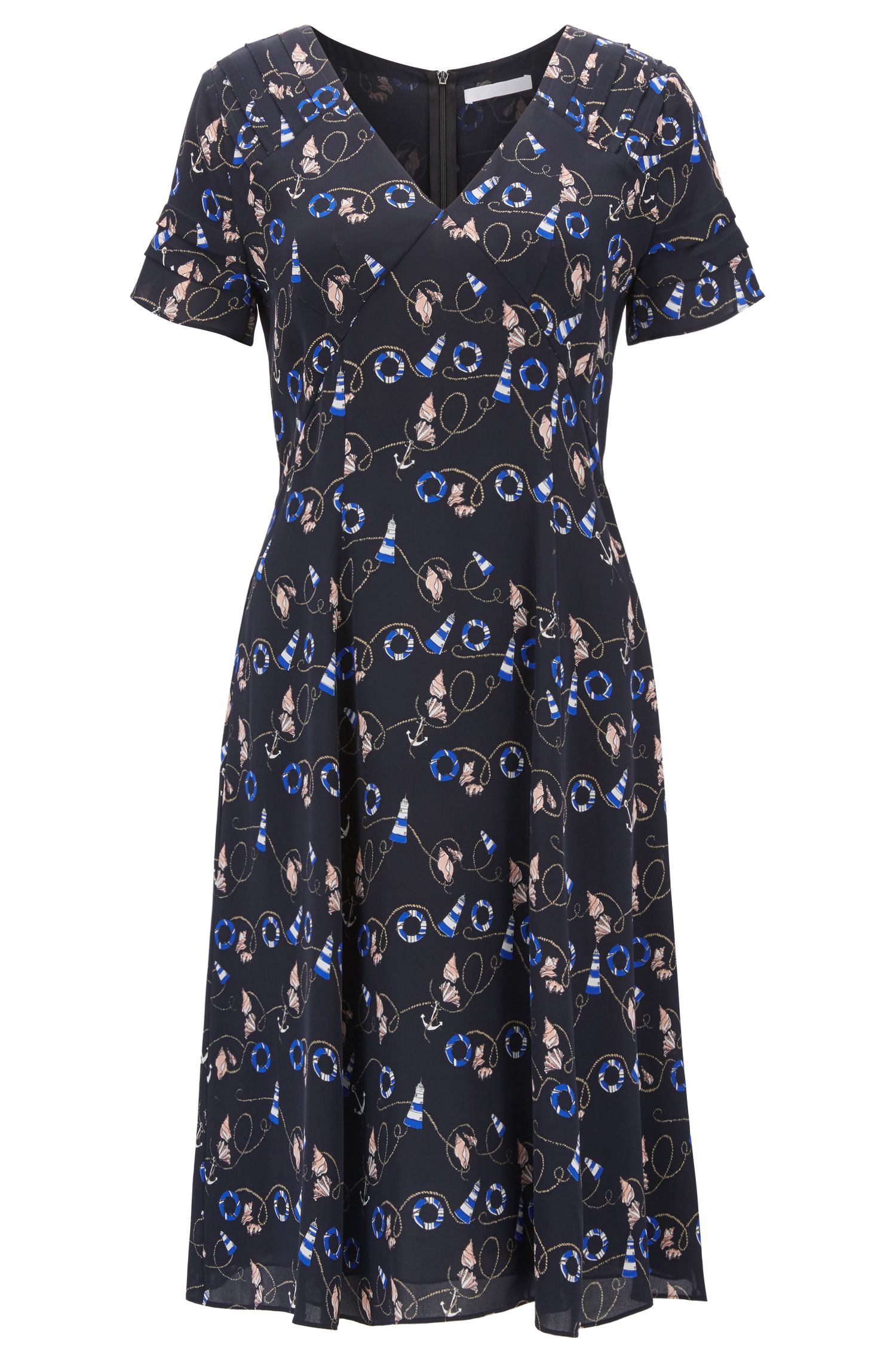 Nautical-print dress in pure silk BOSS