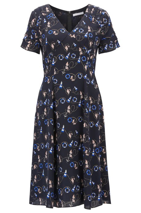 Nautical-print dress in pure silk BOSS Limited Edition For Sale Free Shipping Big Discount Discount Order Sale Online Best Supplier pnyw3N