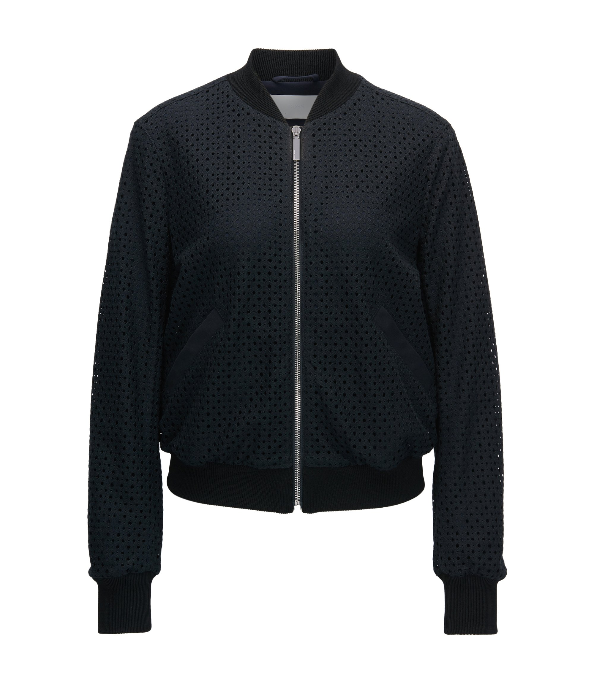 Modern bomber jacket in lace, Dark Blue