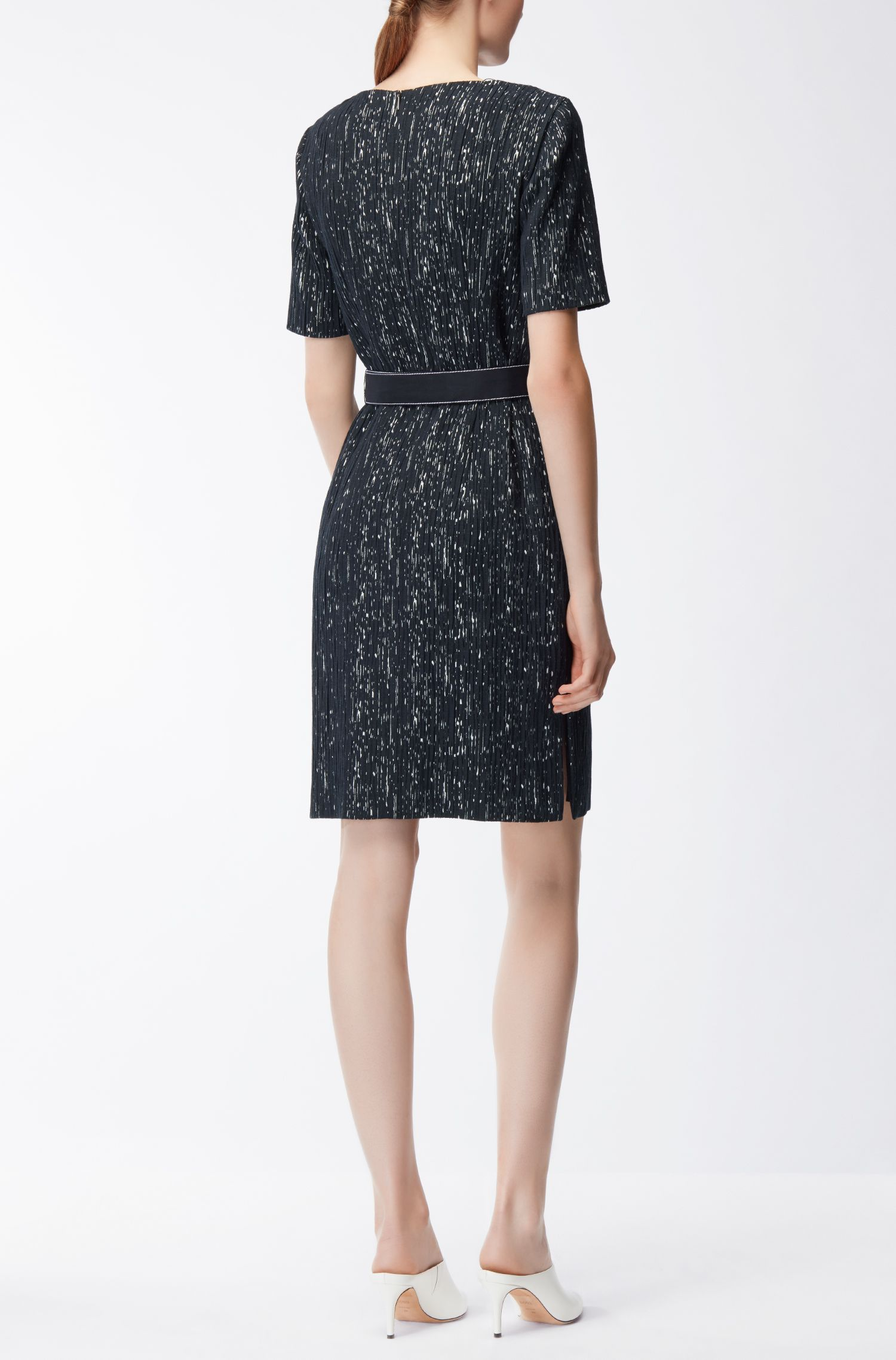 Belted shift dress in a patterned structured stretch fabric BOSS