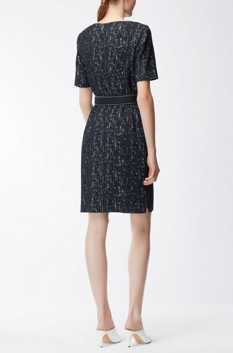 Belted shift dress in a patterned structured stretch fabric BOSS jAOmGbcy
