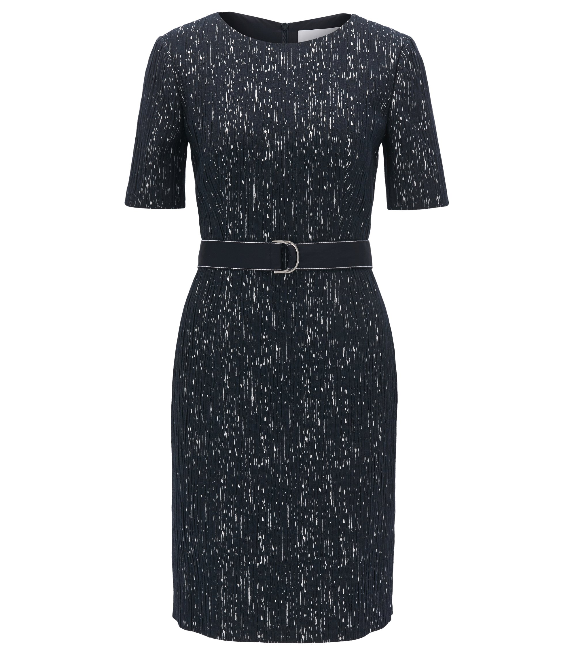 Belted shift dress in a patterned structured stretch fabric, Patterned