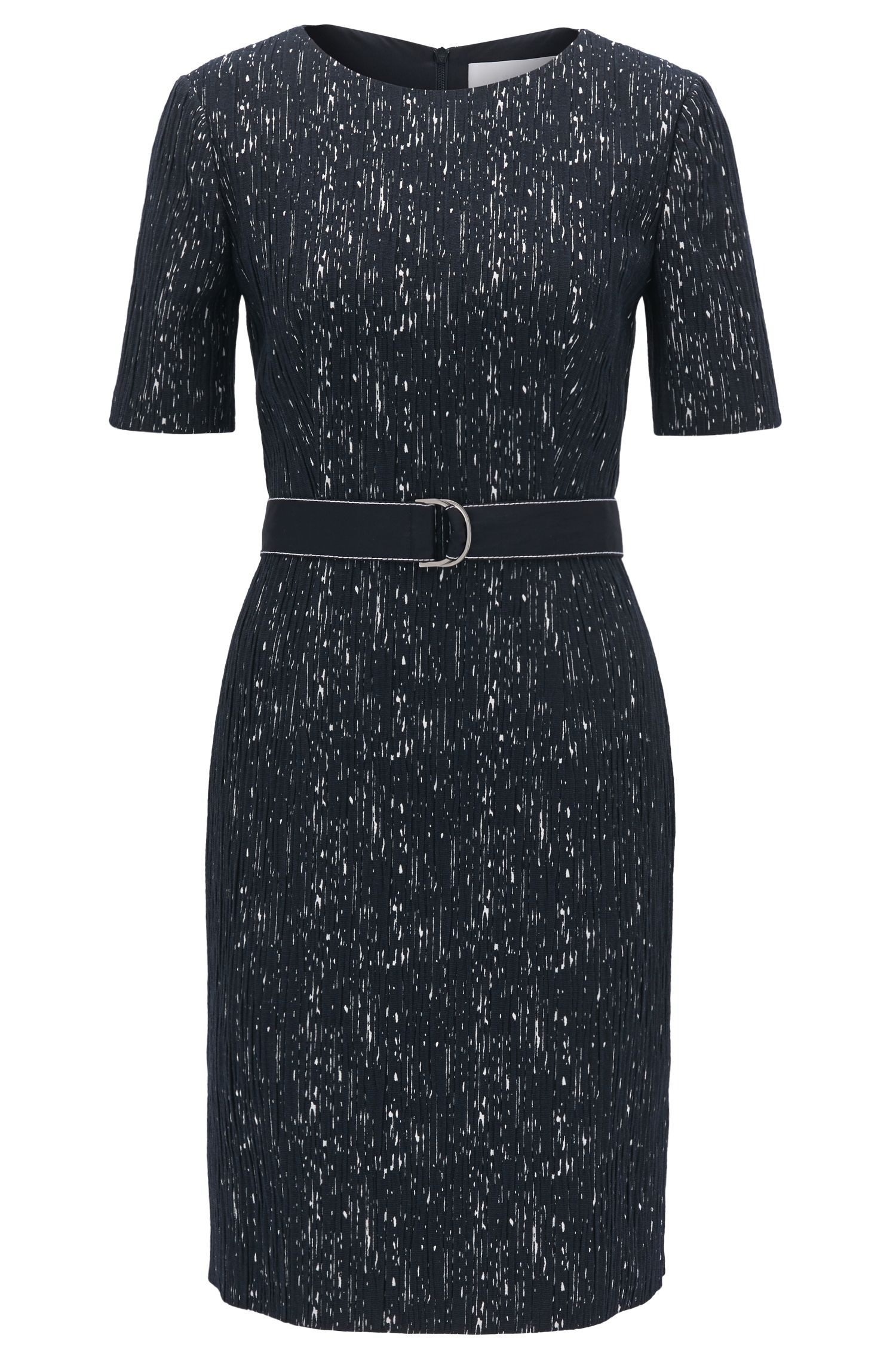 Belted shift dress in a patterned structured stretch fabric