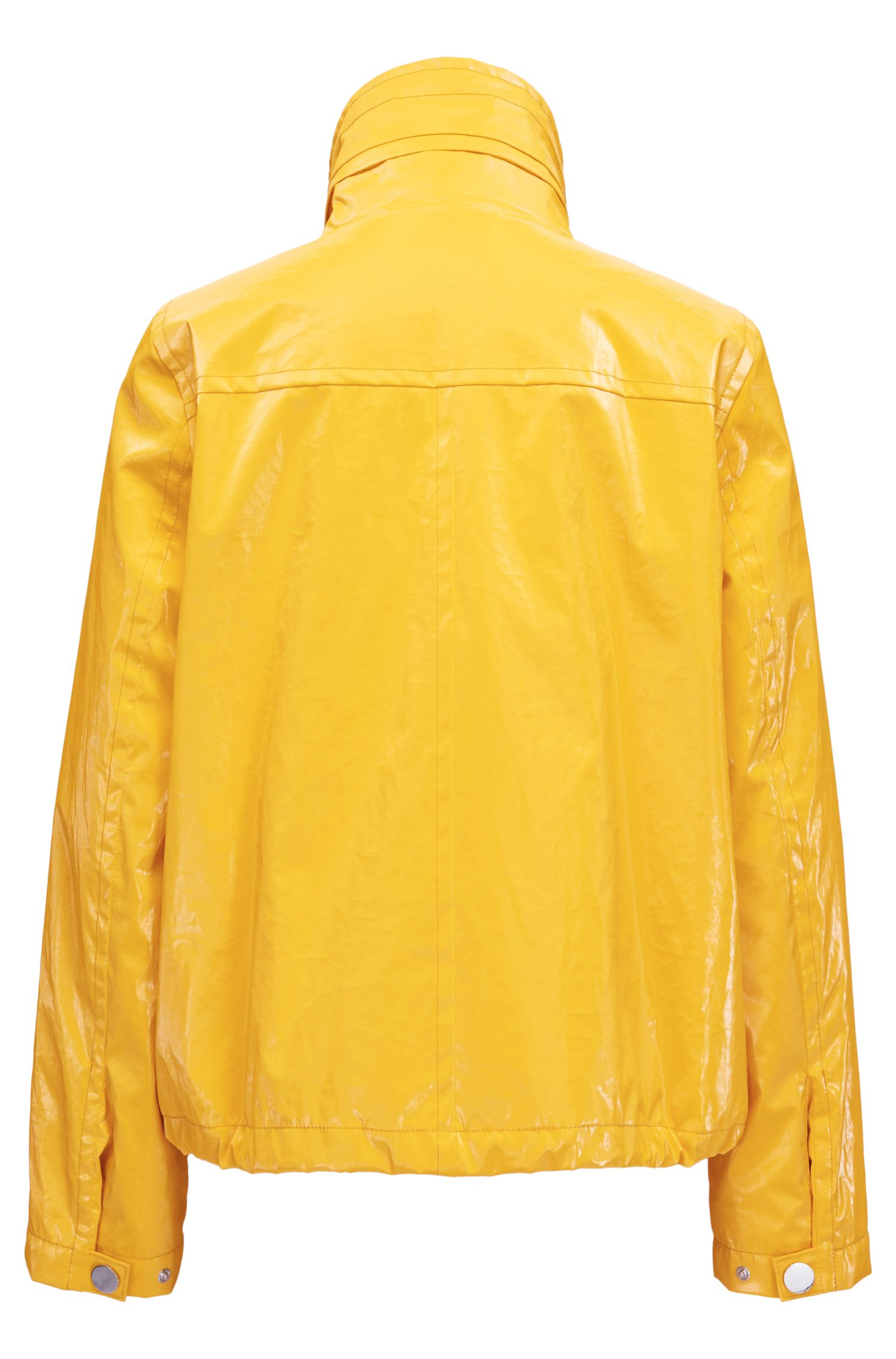 Rain jacket in high-shine bonded-foil cotton
