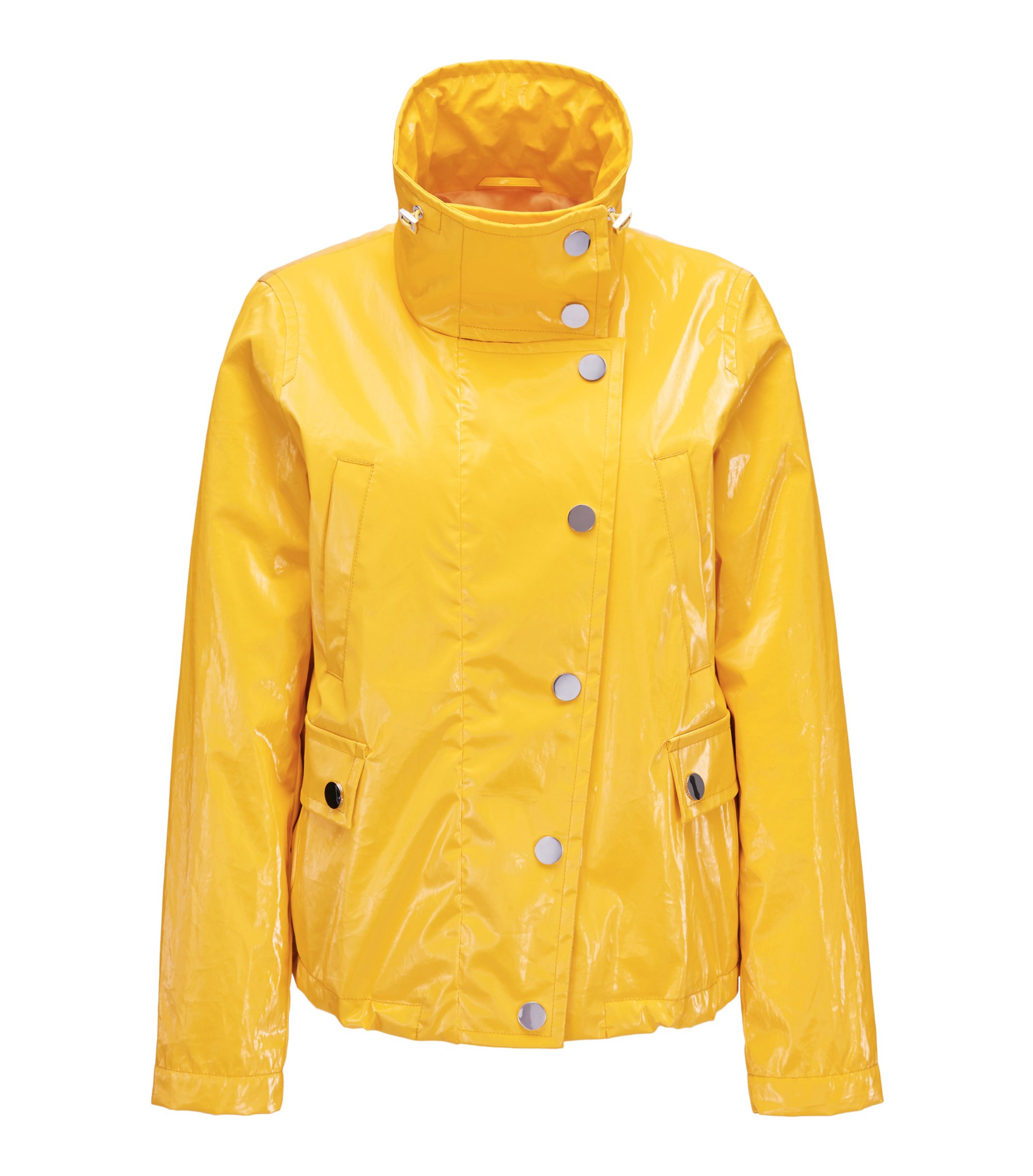 Rain jacket in high-shine bonded-foil cotton, Yellow