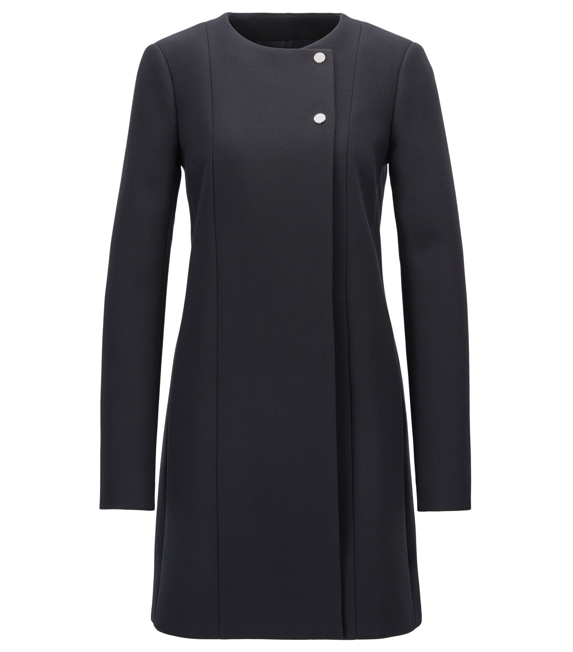 Streamlined coat in bonded crepe, Dark Blue