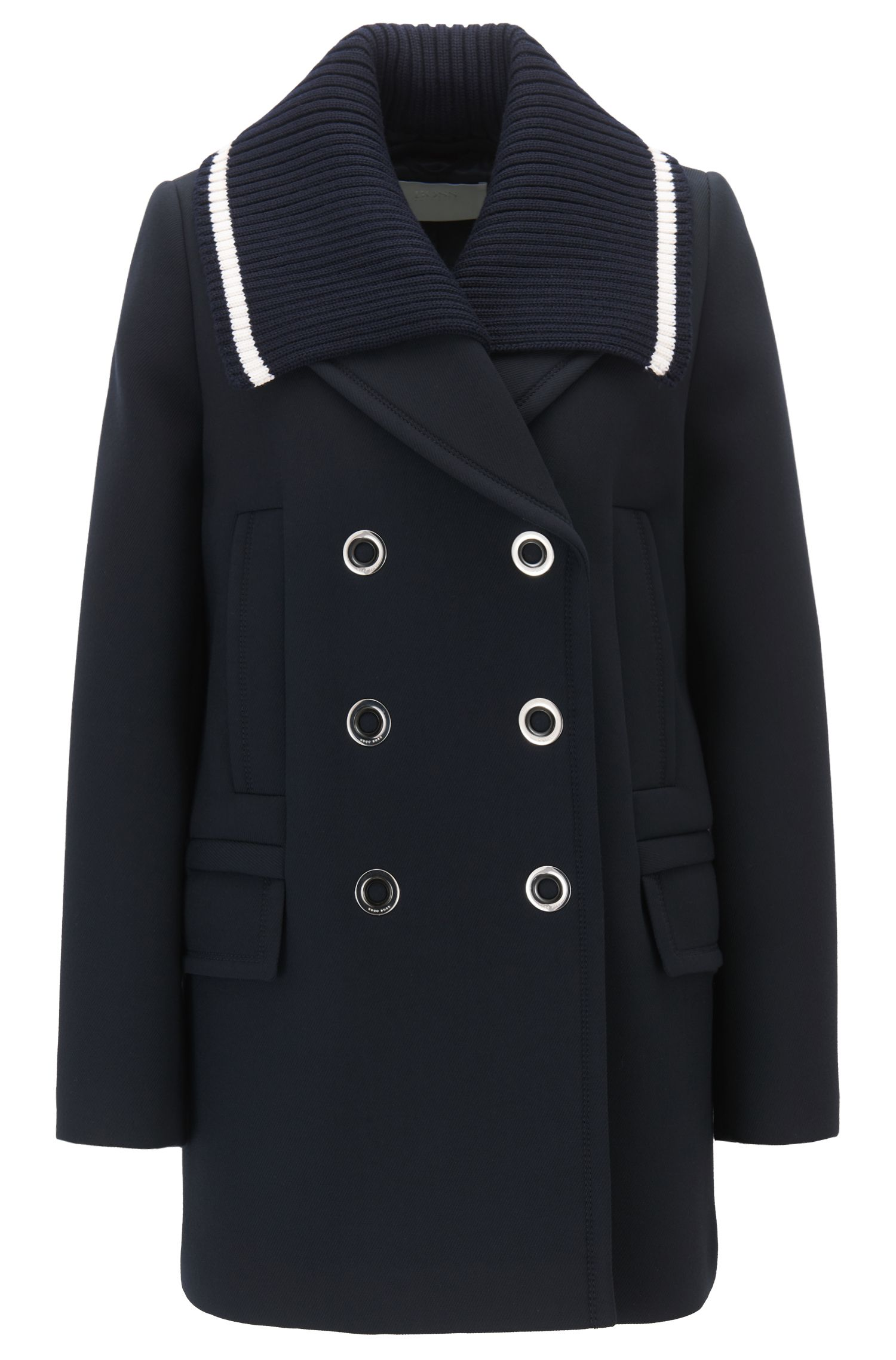 Double-breasted sailor-style jacket in bonded twill