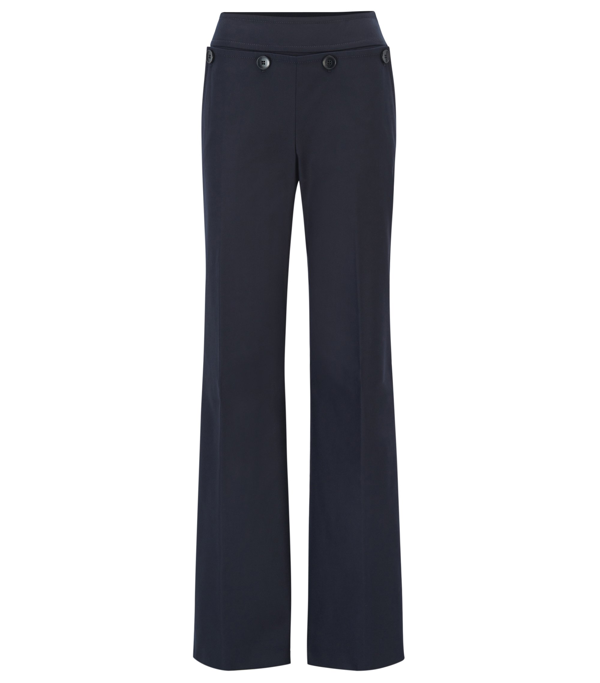 Pantalon à pont Regular Fit en coton stretch mélangé, Bleu foncé