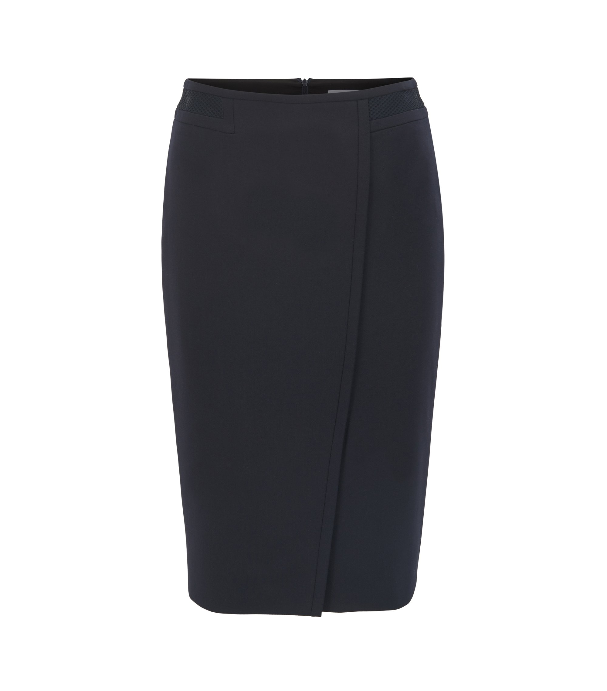 Wrap-front pencil skirt in crêpe, Dark Blue