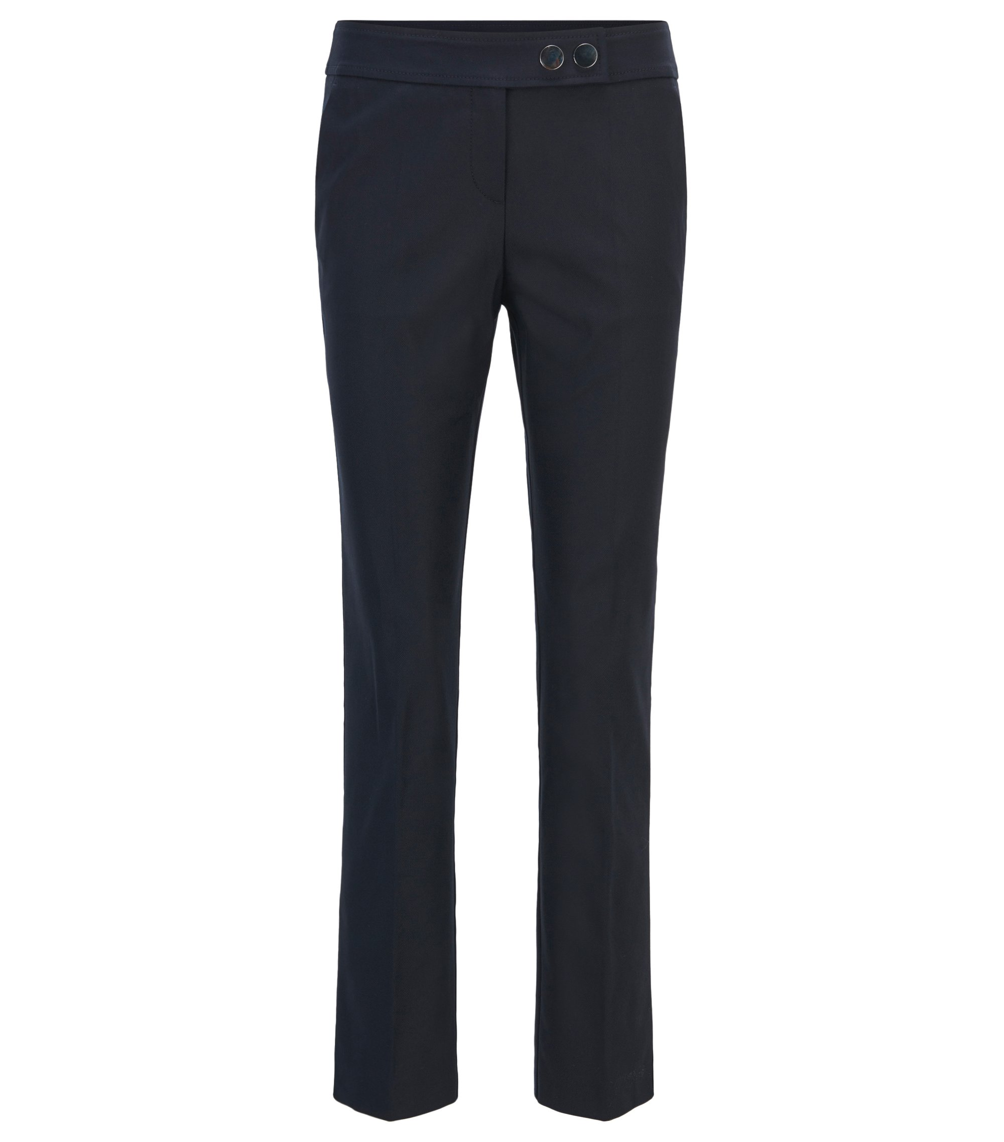 Regular-fit cropped trousers in a stretch-cotton blend, Dark Blue