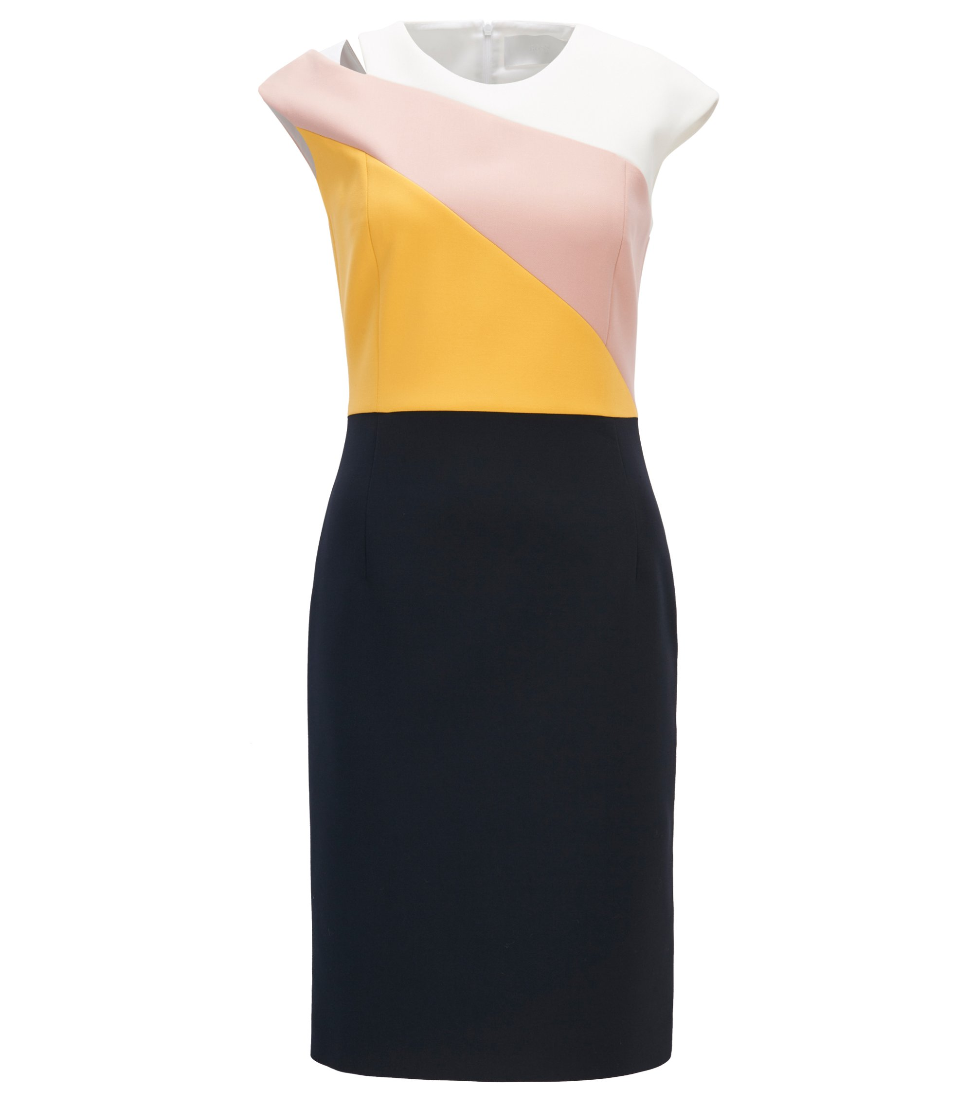 Colour-block shift dress in lightweight crepe  , Dunkelblau