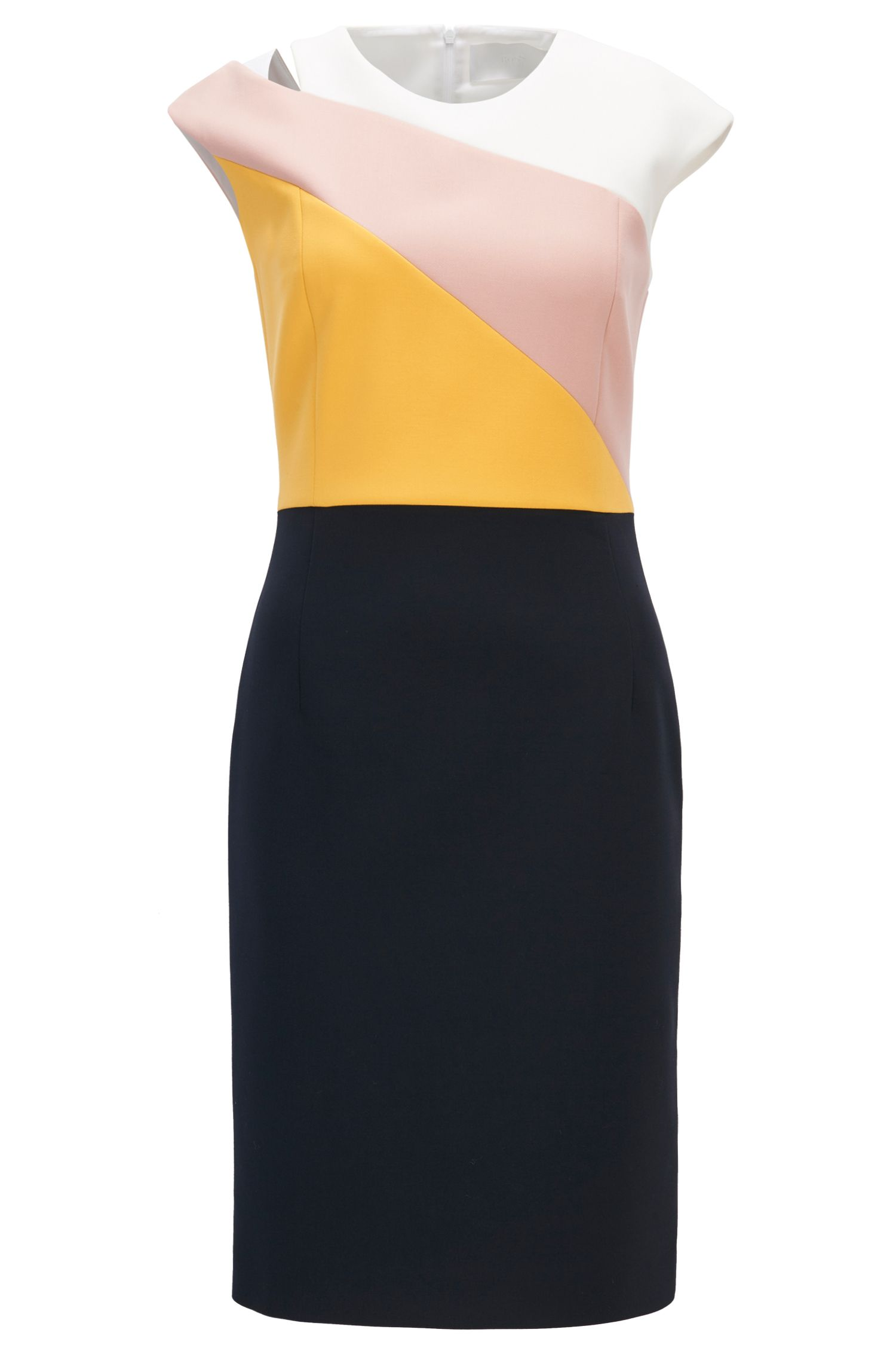 Colour-block shift dress in lightweight crepe