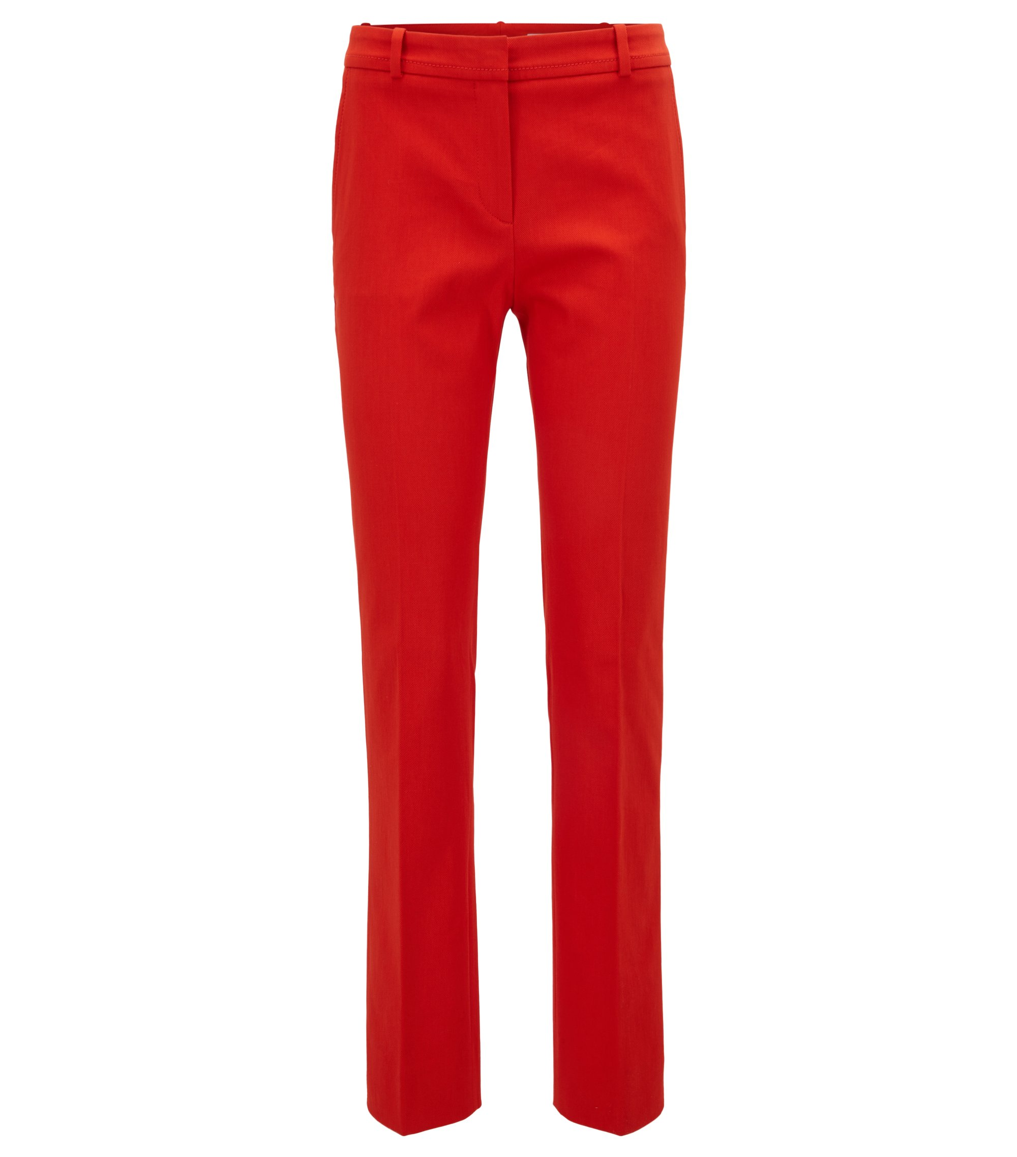Pantalon Regular Fit raccourci en coton stretch, Rouge