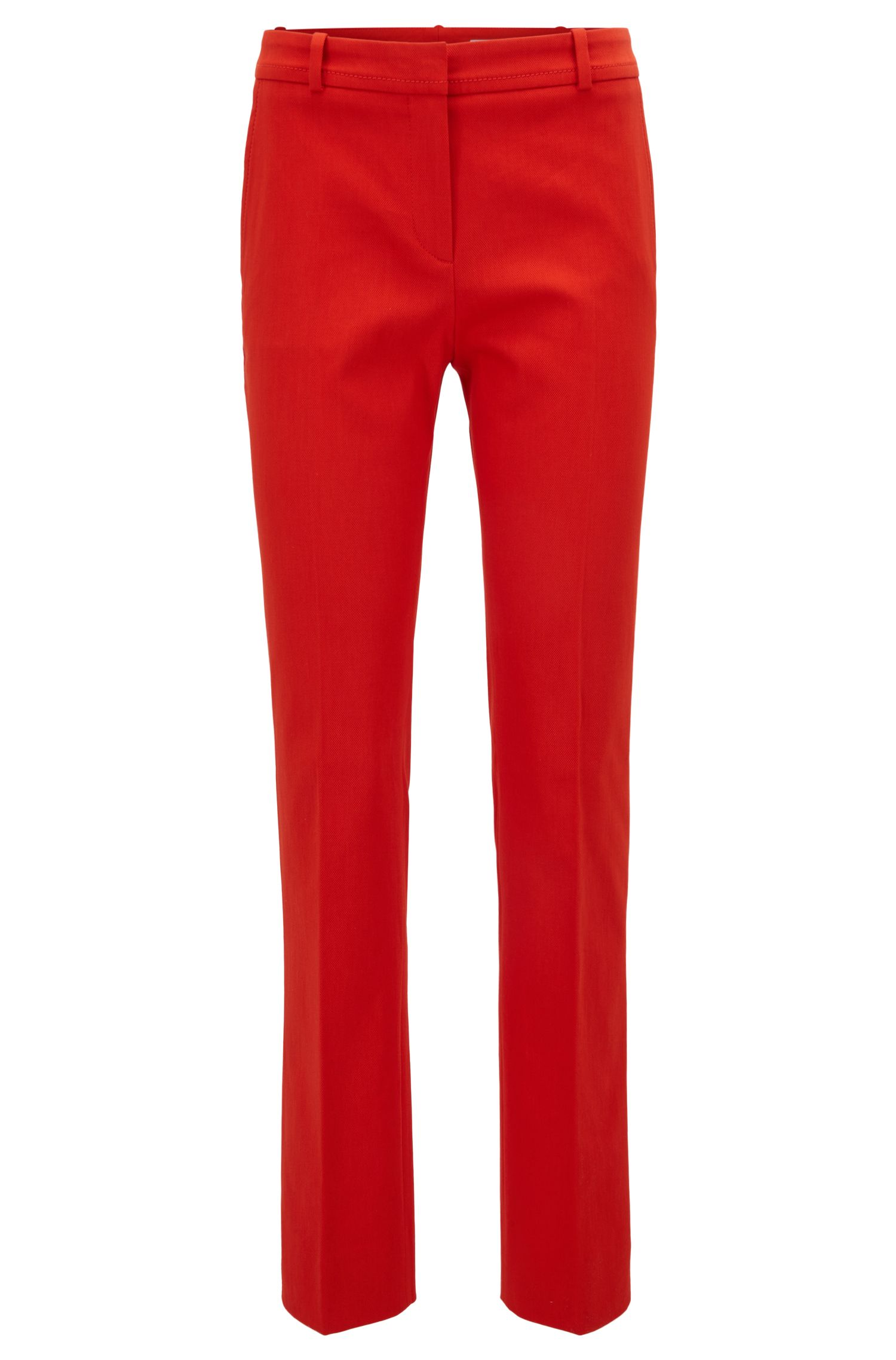 Regular-fit cropped trousers in stretch cotton
