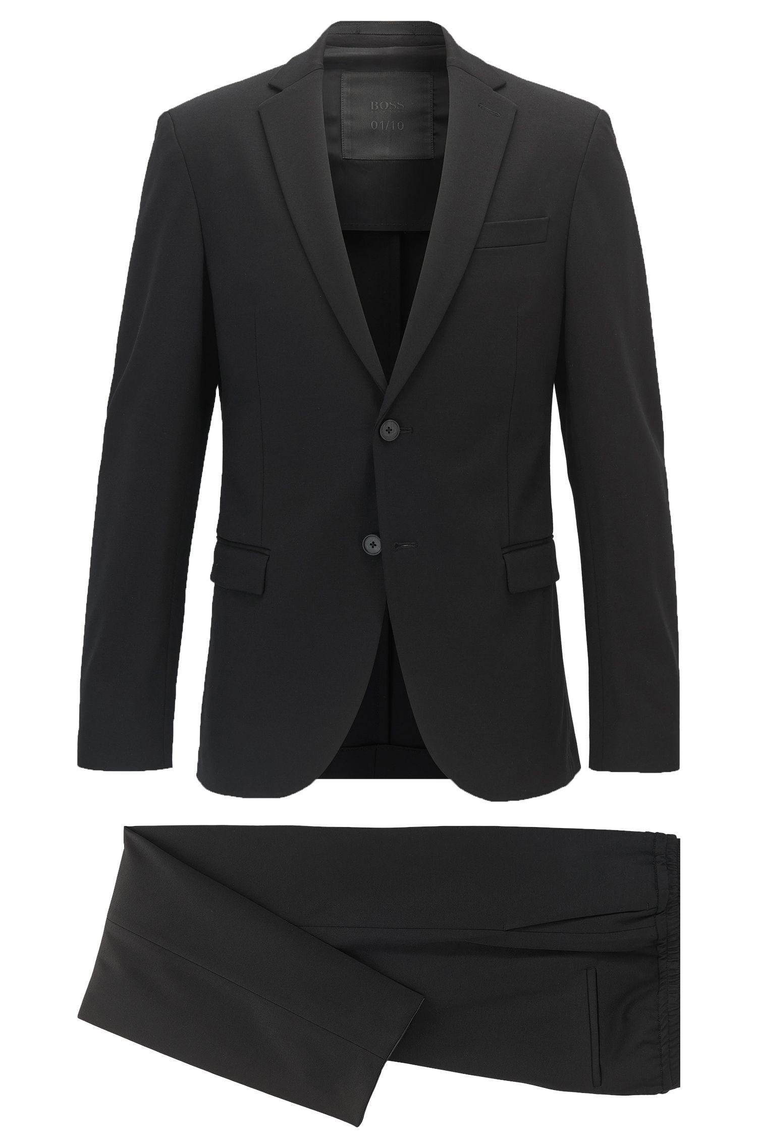 Slim-Fit Anzug aus Stretch-Jersey mit Tunnelzug an der Hose