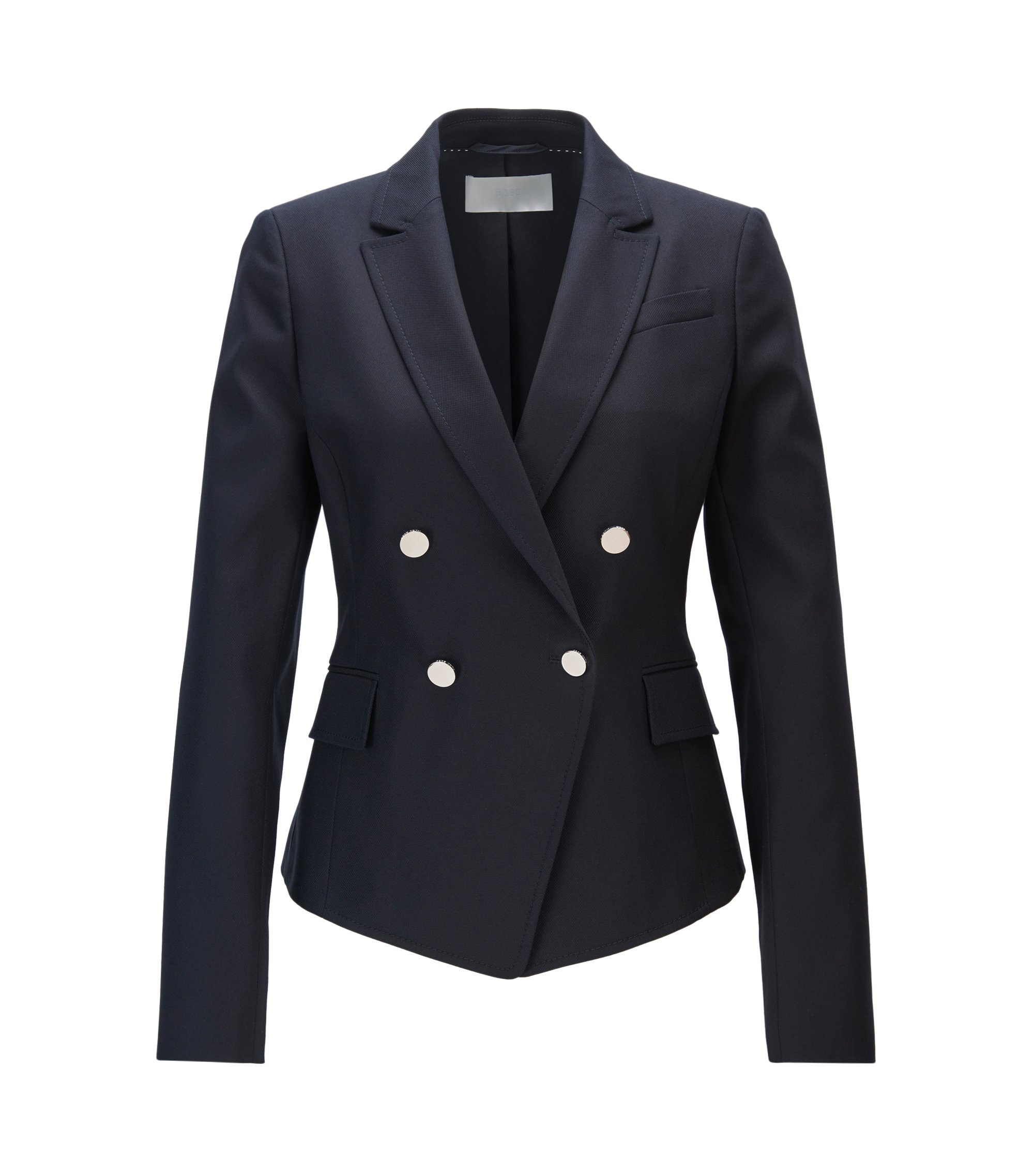 Regular-fit double-breasted tailored jacket with pointed hem, Dark Blue