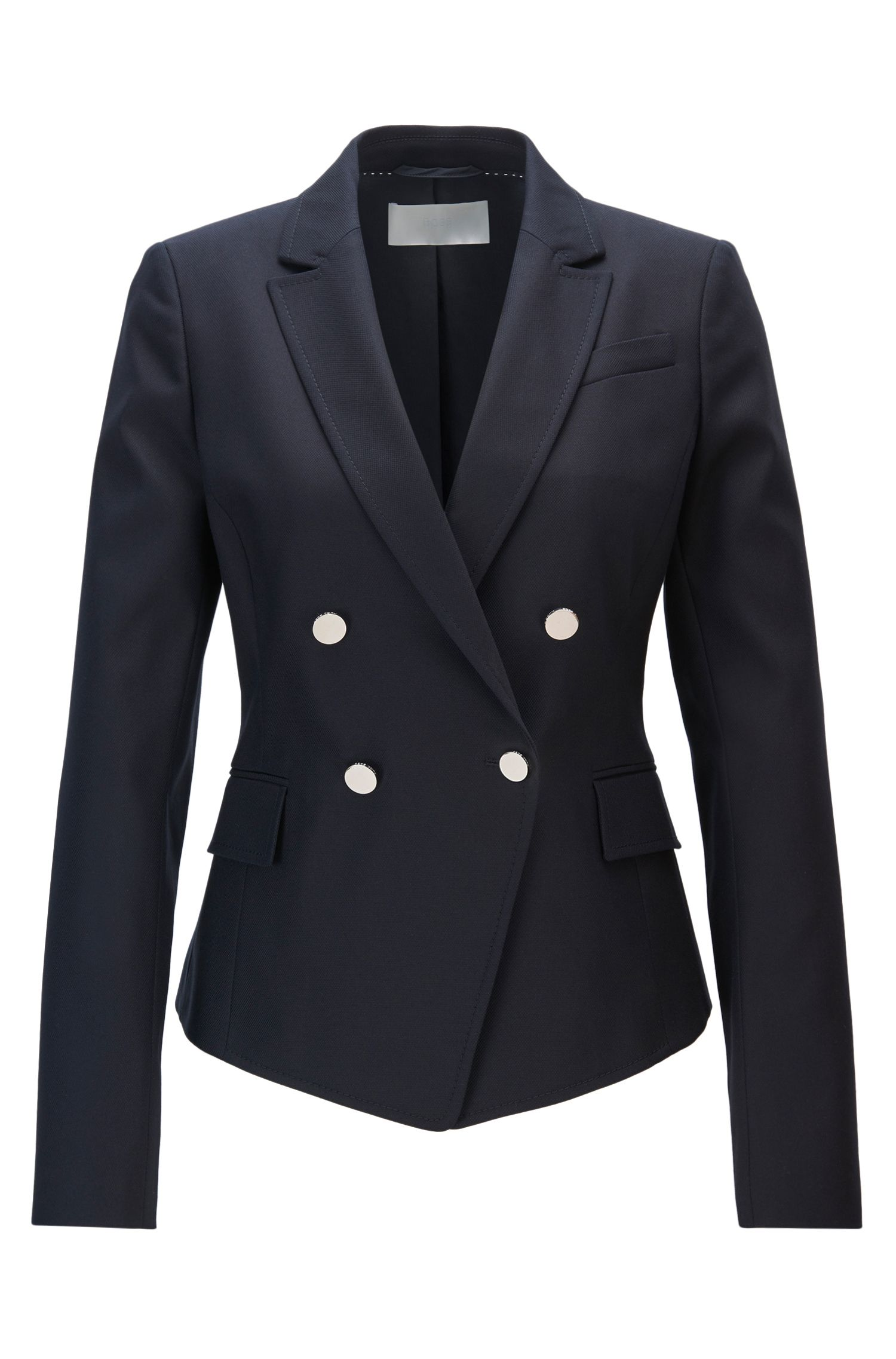 Regular-fit double-breasted tailored jacket with pointed hem