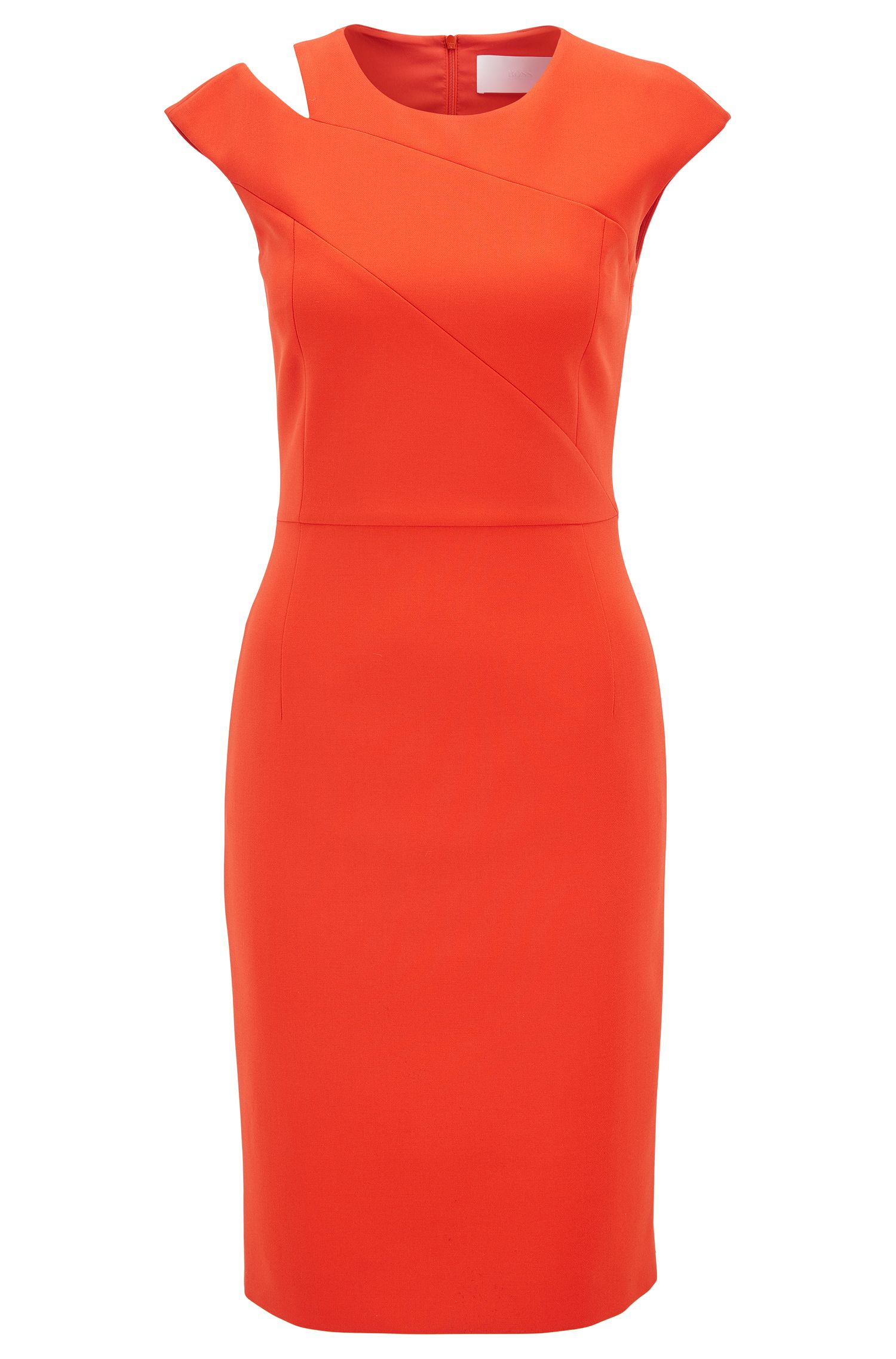 Crepe shift dress with cutaway shoulder detail