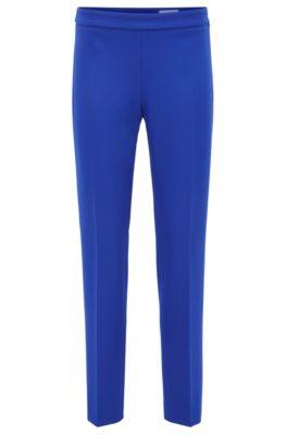 Pantaloni alla caviglia in crêpe regular fit, Blu